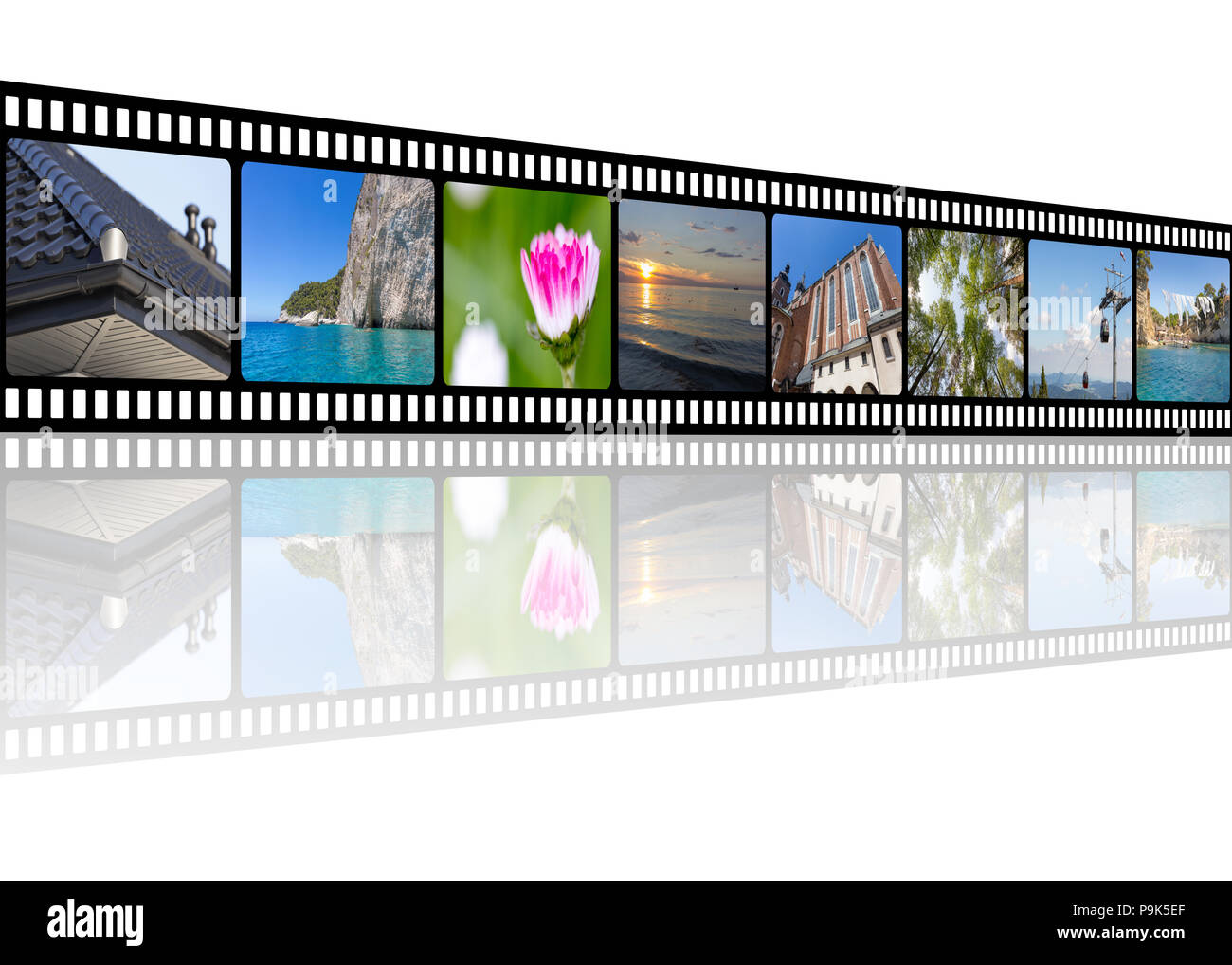 Film strip with architecture, travel, and nature photos collage illustration with empty copy space for your text Stock Photo