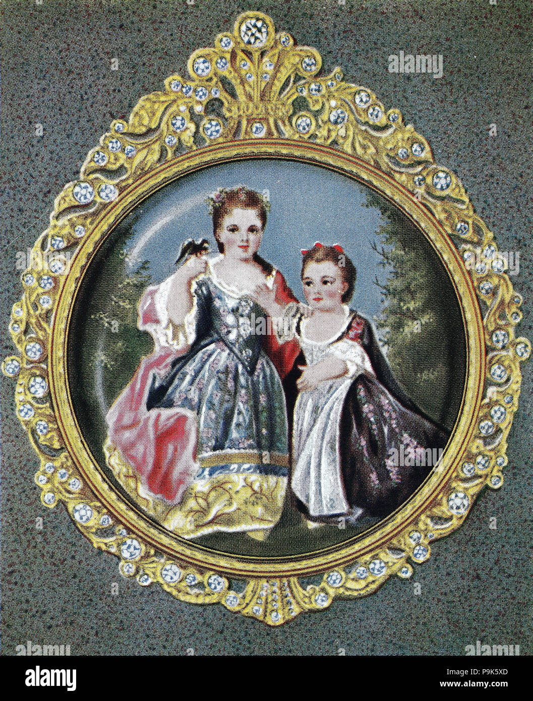 the daughters of Louis XV, 15 February 1710 – 10 May 1774, known as Louis the Beloved, was a monarch of the House of Bourbon who ruled as King of France from 1 September 1715 until his death in 1774, digital improved reproduction of an original print from the year 1900 - Stock Image