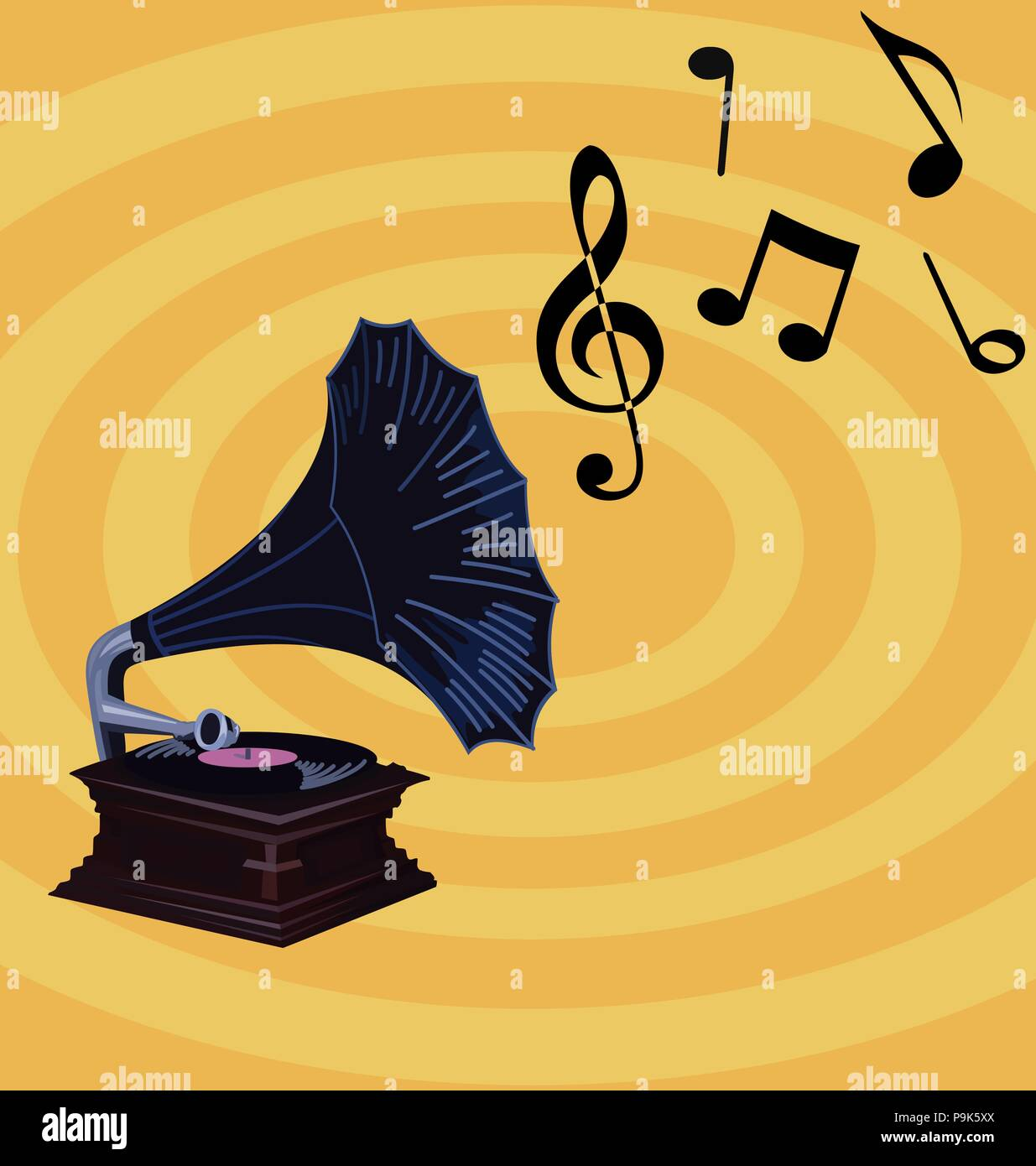 Retro Music Wallpaper - Old Gramophone with music notes, vintage ...