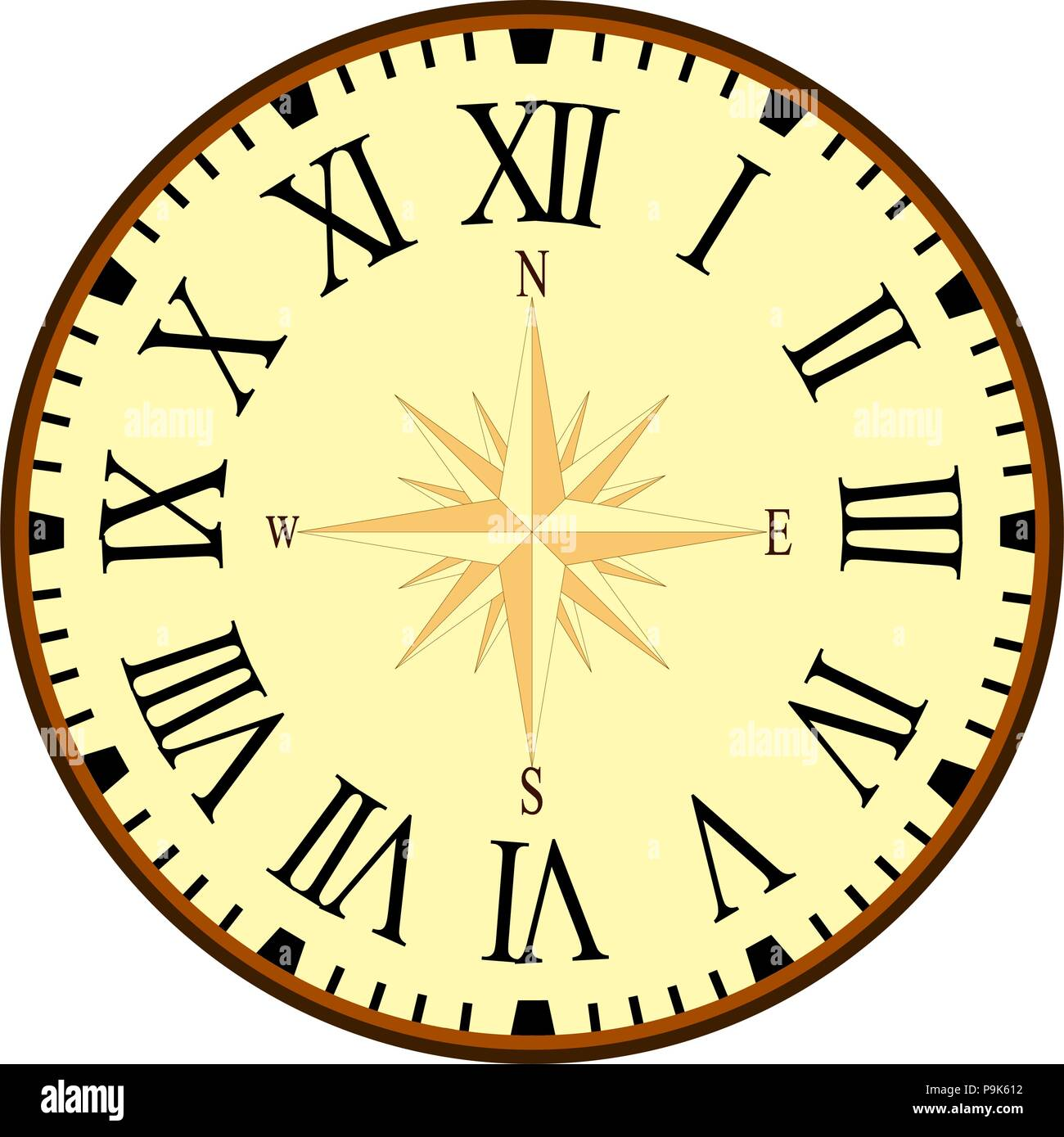 Vintage Clock Vector Graphic With Compass On The Clockface