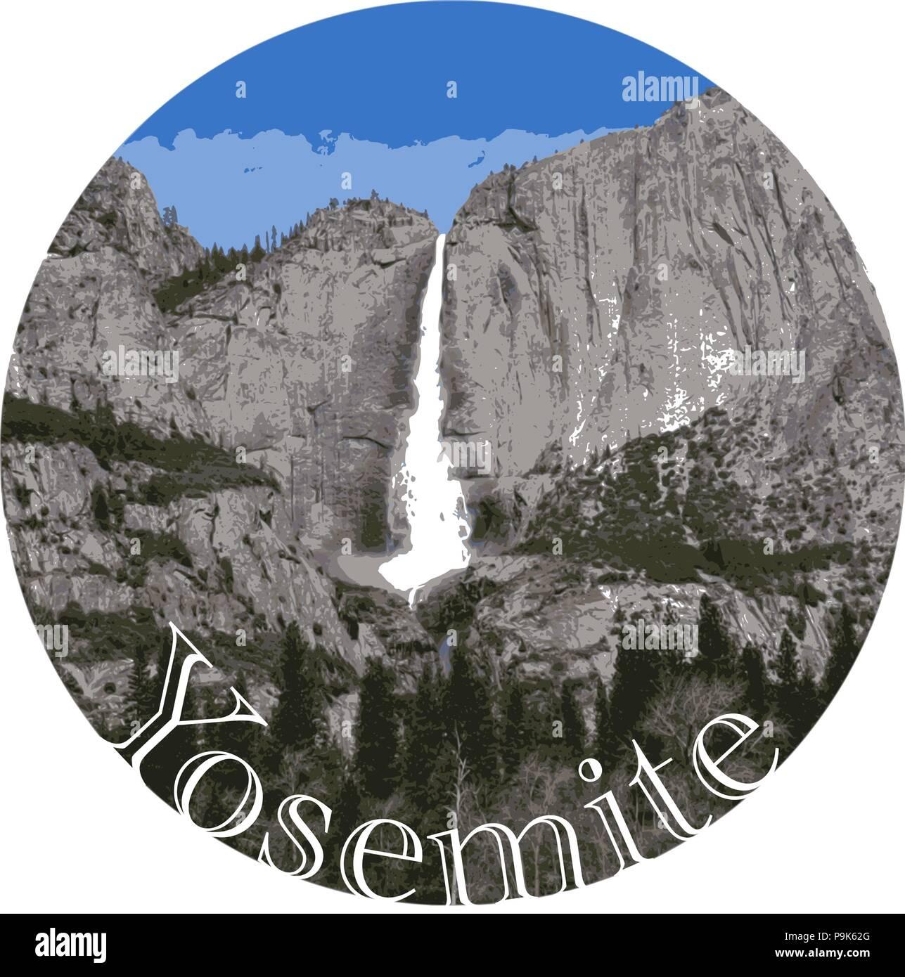 Yosemite Waterfall, US National Park, California - Detailed Vector Graphic, Bumper Sticker Idea - Stock Vector