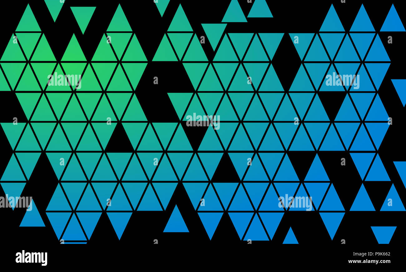 Mosaic Triangle Blue Green Color Gradient Background