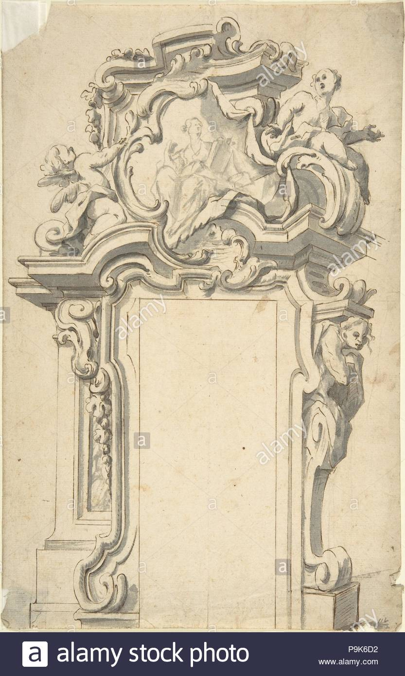Two alternate Designs for a frame of door, 1700–1780, Pen and brown ...