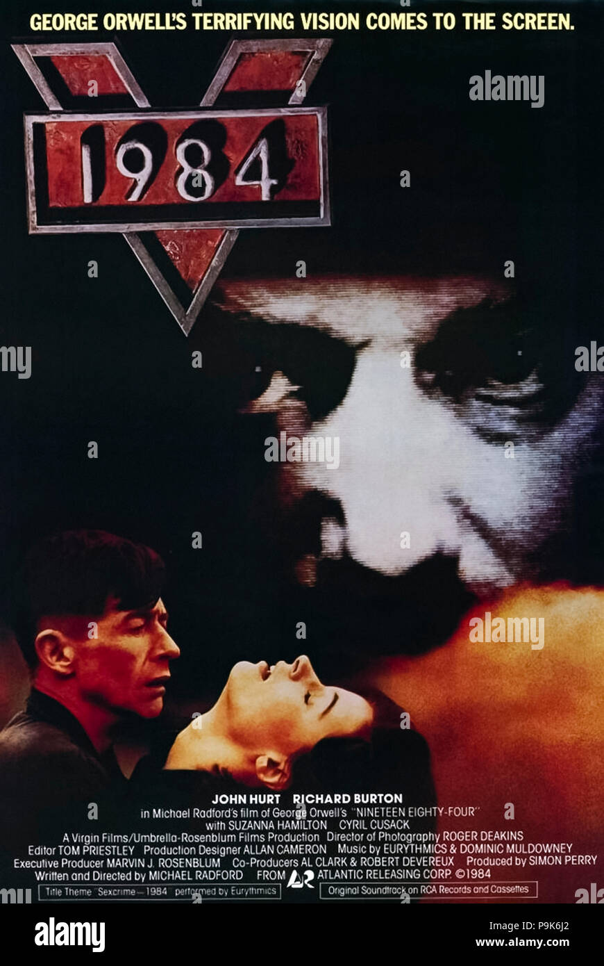1984 (1984)( Nineteen Eighty-Four) directed by Michael Radford and starring John Hurt, Richard Burton, Suzanna Hamilton and Cyril Cusack. George Orwell's prescient dystopian novel gets a worthy big screen adaptation. - Stock Image
