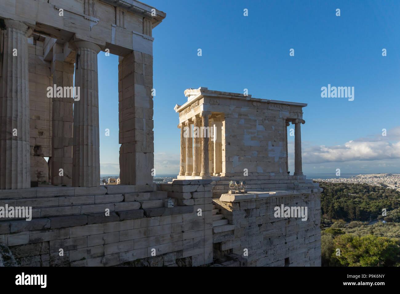 Monumental gateway Propylaea in the Acropolis of Athens, Attica, Greece - Stock Image