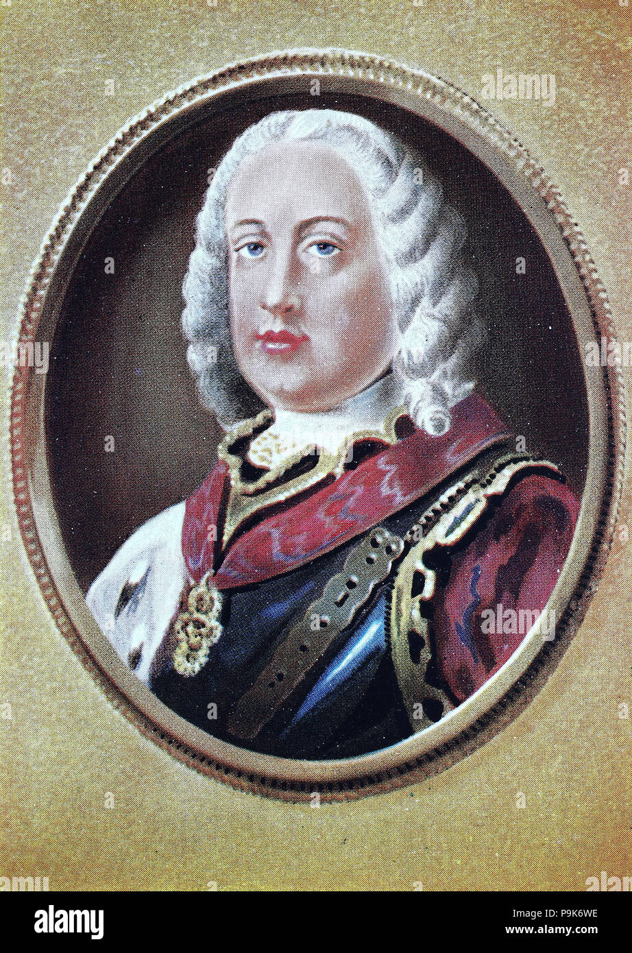 Francis I, Franz Stefan, François Étienne, 8 December 1708 – 18 August 1765, was Holy Roman Emperor and Grand Duke of Tuscany, though his wife effectively executed the real powers of those positions., digital improved reproduction of an original print from the year 1900 - Stock Image