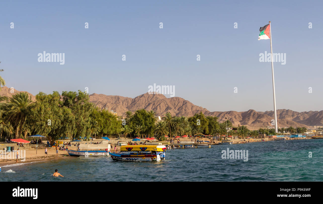AQABA, JORDAN- MAY 01, 2016: Glass boats for rent at the beach of Aqaba in Jordan. - Stock Image