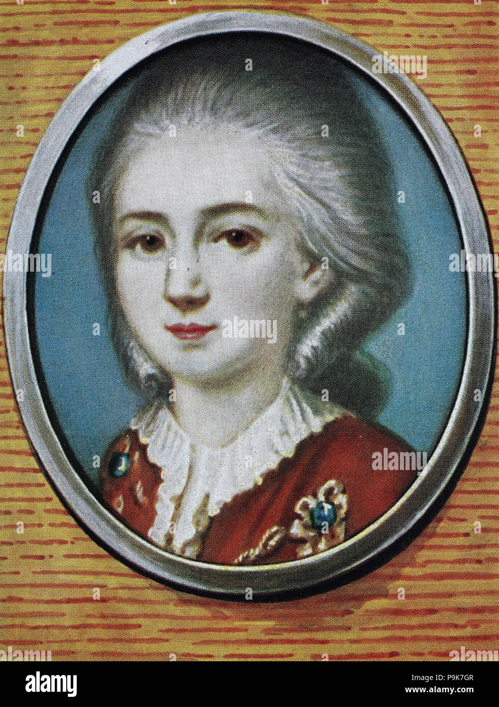 Wolfgang Amadeus Mozart, 27 January 1756 – 5 December 1791, baptised as Johannes Chrysostomus Wolfgangus Theophilus Mozart, was a prolific and influential composer of the classical era. , digital improved reproduction of an original print from the year 1900 - Stock Image
