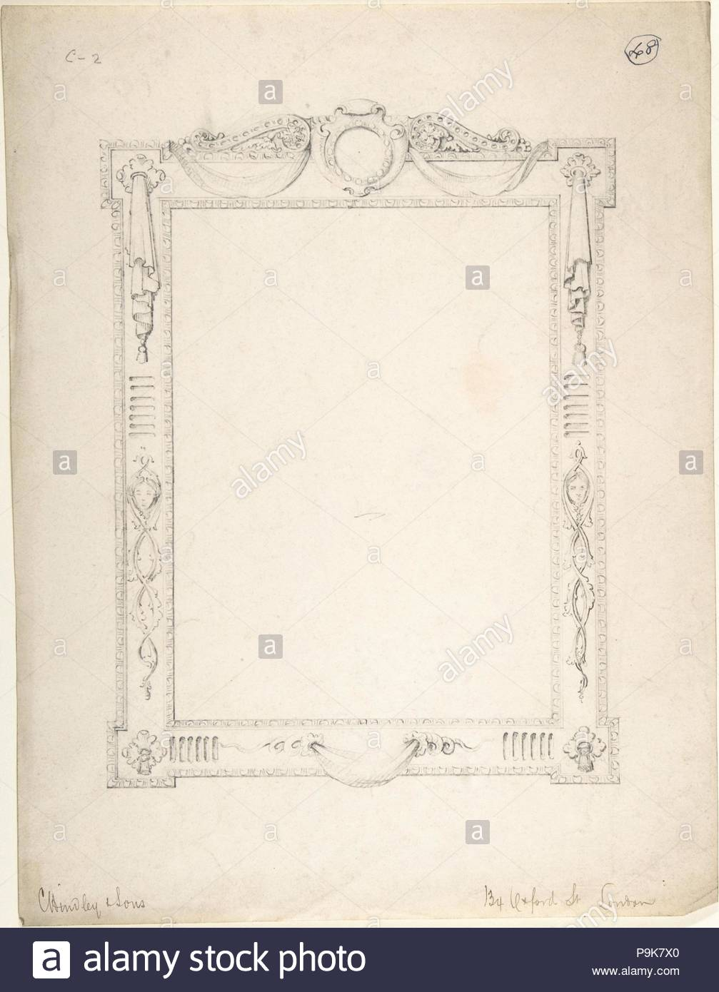Design for a Frame, 1841–84, Graphite, sheet: 13 9/16 x 10 3/8 in ...