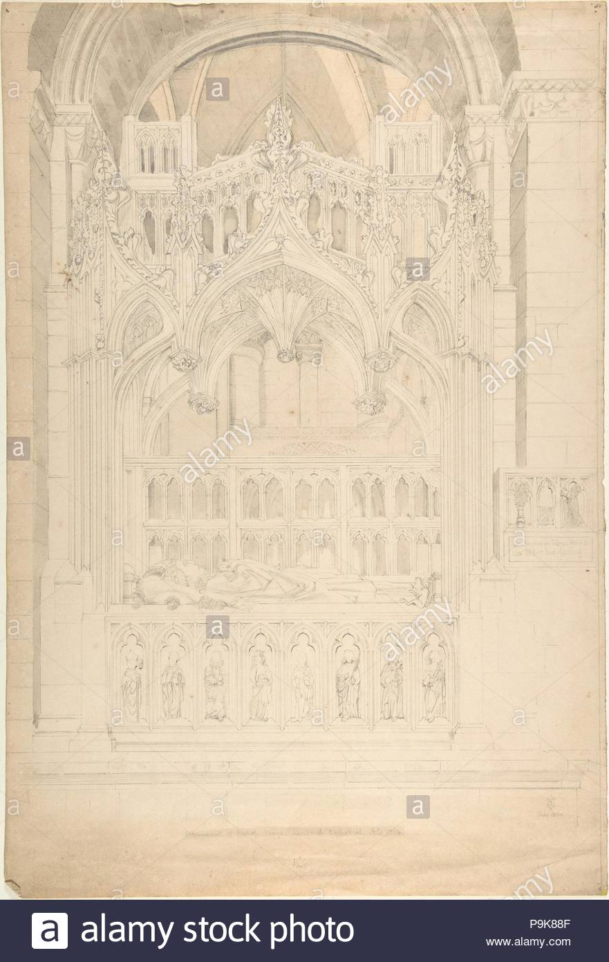 Monument of Bishop Mays, Hereford Castle AD1516, 19th century, Ink and wash over graphite, sheet: 19 1/2 x 13 in. (49.5 x 33 cm), Attributed to Sir Charles Barry (British, London 1795–1860 London). - Stock Image