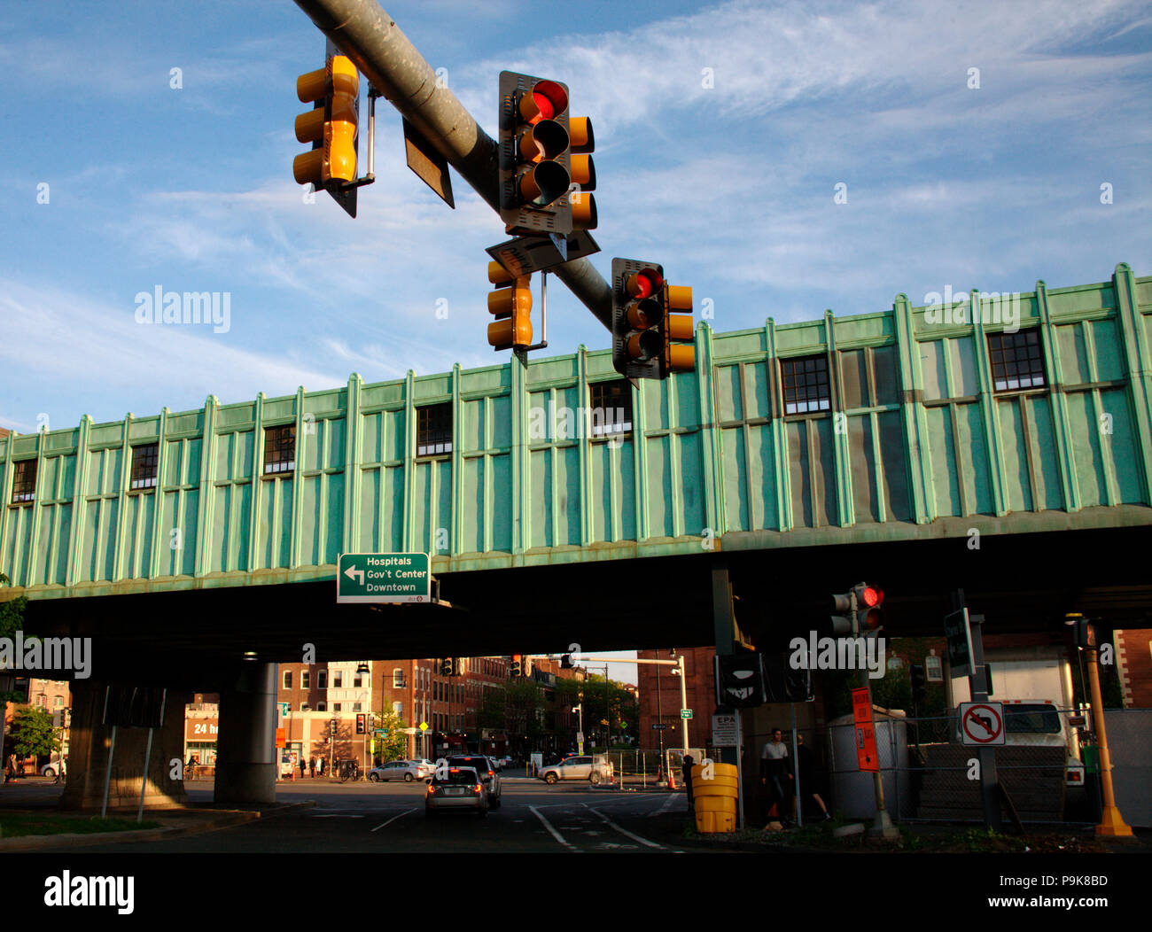 Traffic lights and overground passage in downtown Boston, MA Stock