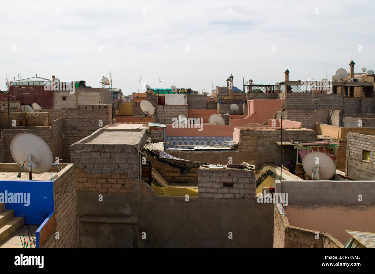The rooftops of slums in morocco - Stock Image