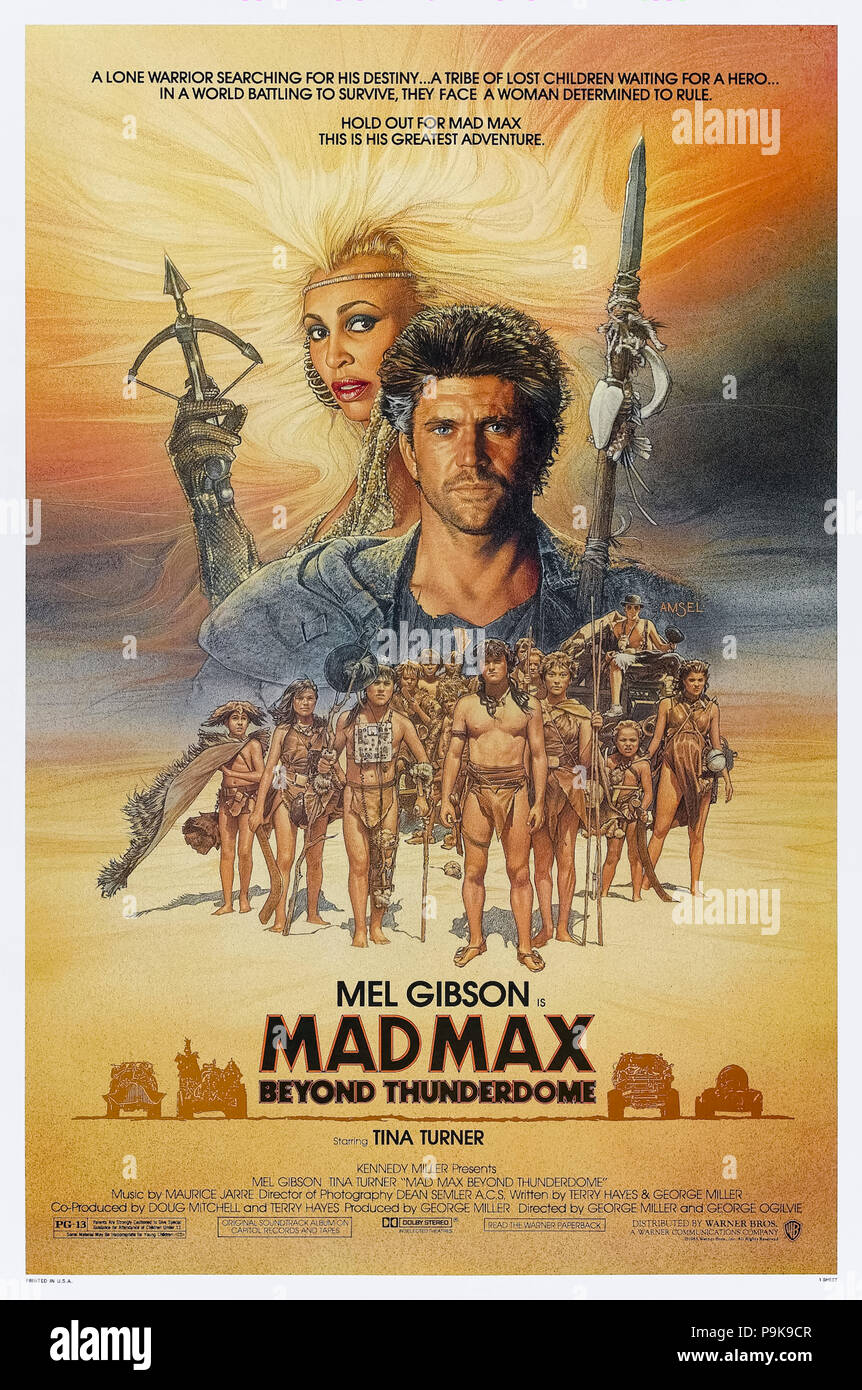 Mad Max Beyond Thunderdome (1985) directed by George Miller and George Ogilvie and starring Mel Gibson, Tina Turner, Bruce Spence and Angelo Rossitto. Mad Max returns to face Aunty Entity and her Bartertown in post apocalyptic Australia. - Stock Image