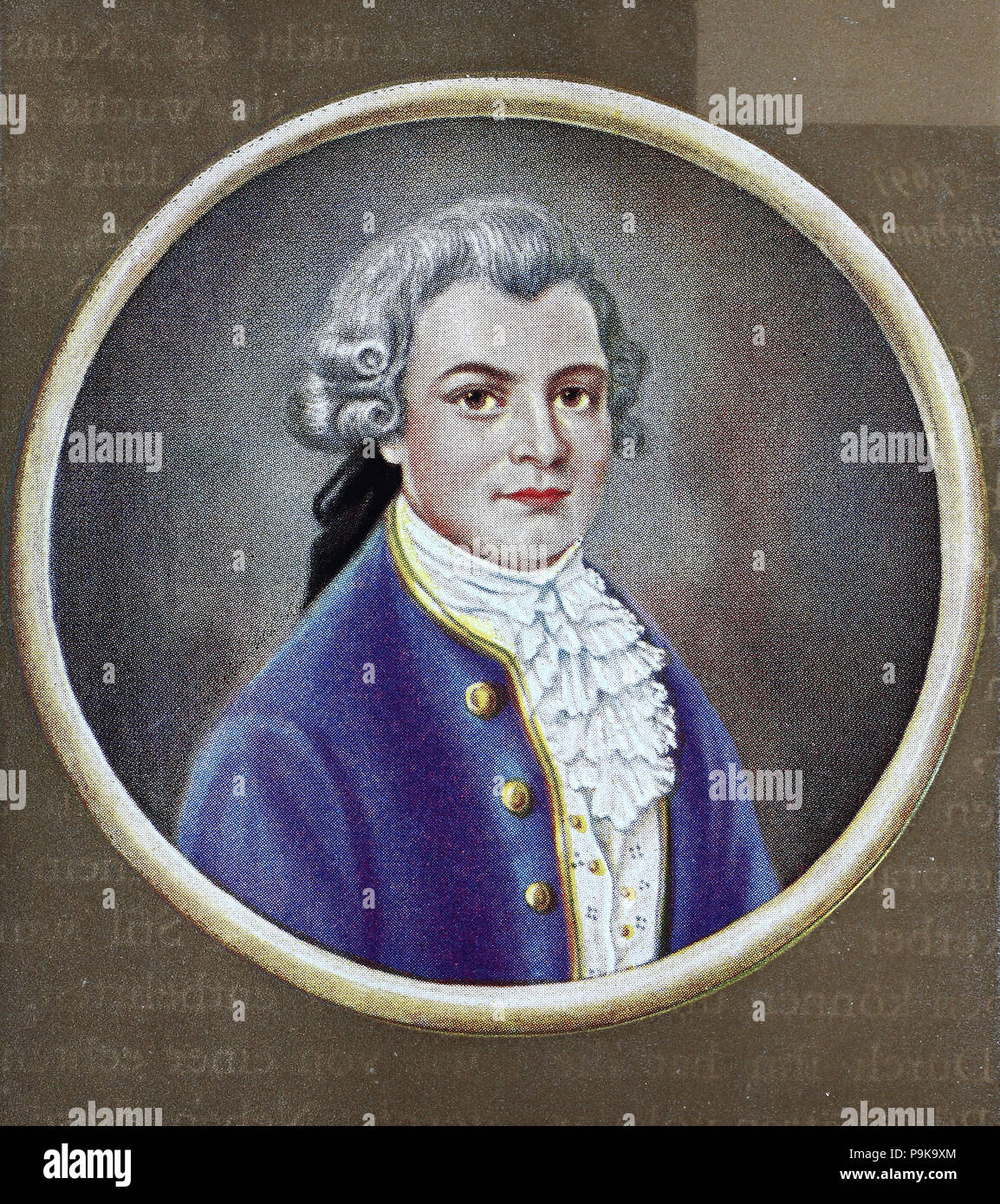 Gotthold Ephraim Lessing, 22 January 1729 – 15 February 1781, was a German writer, philosopher, dramatist, publicist and art critic, and one of the most outstanding representatives of the Enlightenment era, digital improved reproduction of an original print from the year 1900 - Stock Image