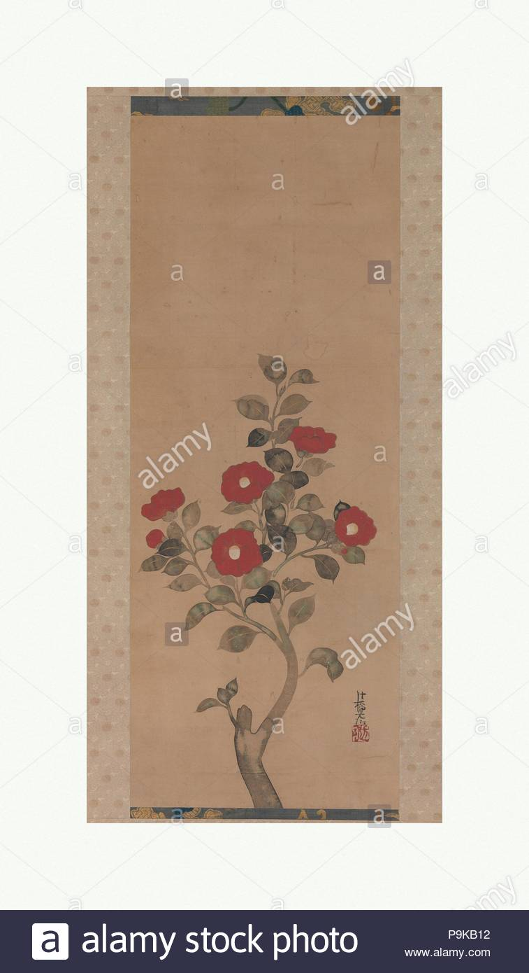 Camellias, Edo period (1615–1868), Japan, Hanging scroll; color on paper, 38 3/4 x 14 in. (98.4 x 35.6 cm), Paintings, Attributed to Ogata Korin (Japanese, 1658–1716). - Stock Image