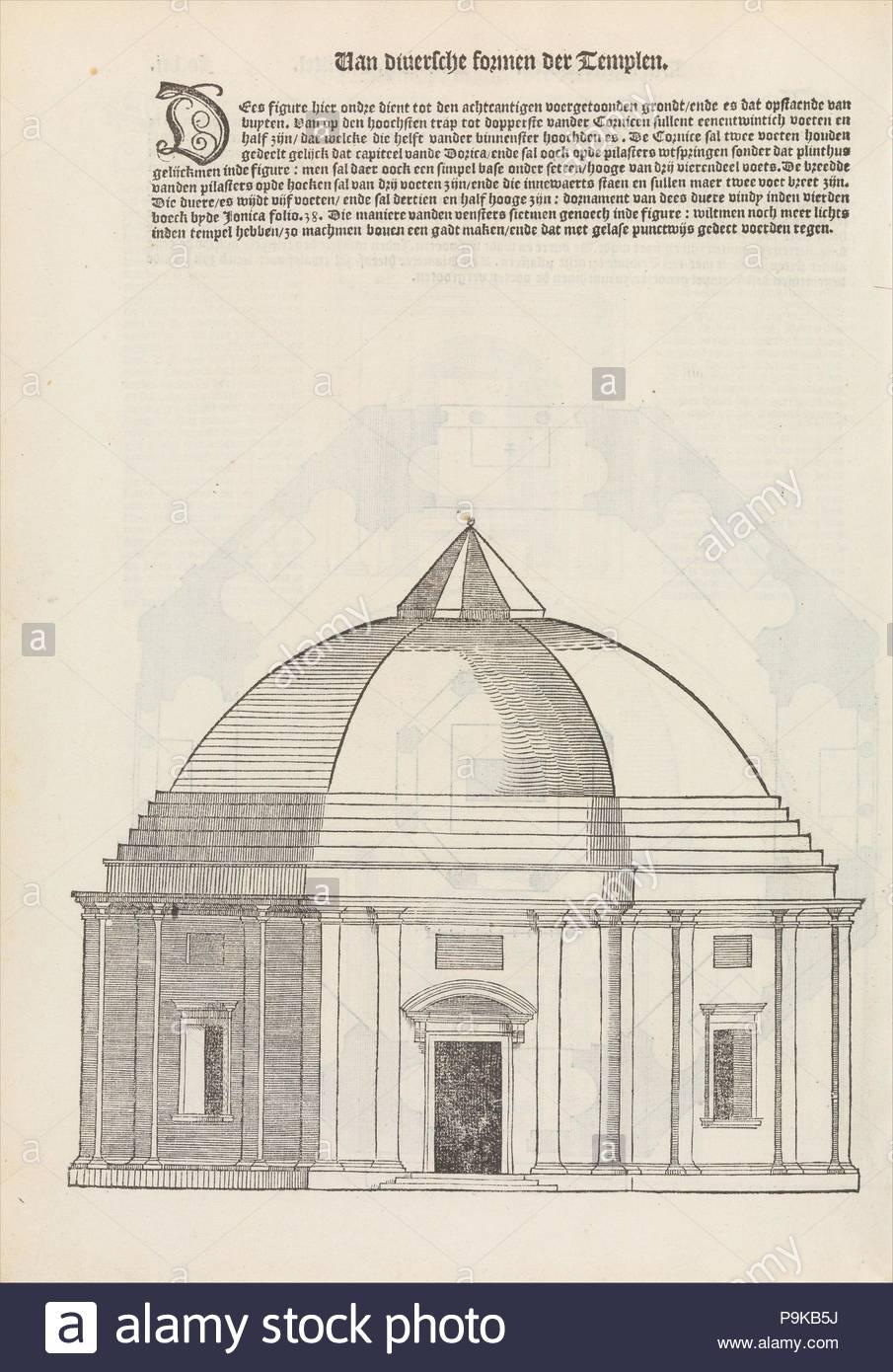 Den eersten (-vijfsten) boeck van architecturen, 1546, 1549, 1553, Printed books with woodcut illustrations, 13 1/2 in. × 10 in. × 1 3/4 in. (34.3 × 25.4 × 4.5 cm), Hendrick Hondius I (Netherlandish, Duffel 1573–1650 Amsterdam). - Stock Image