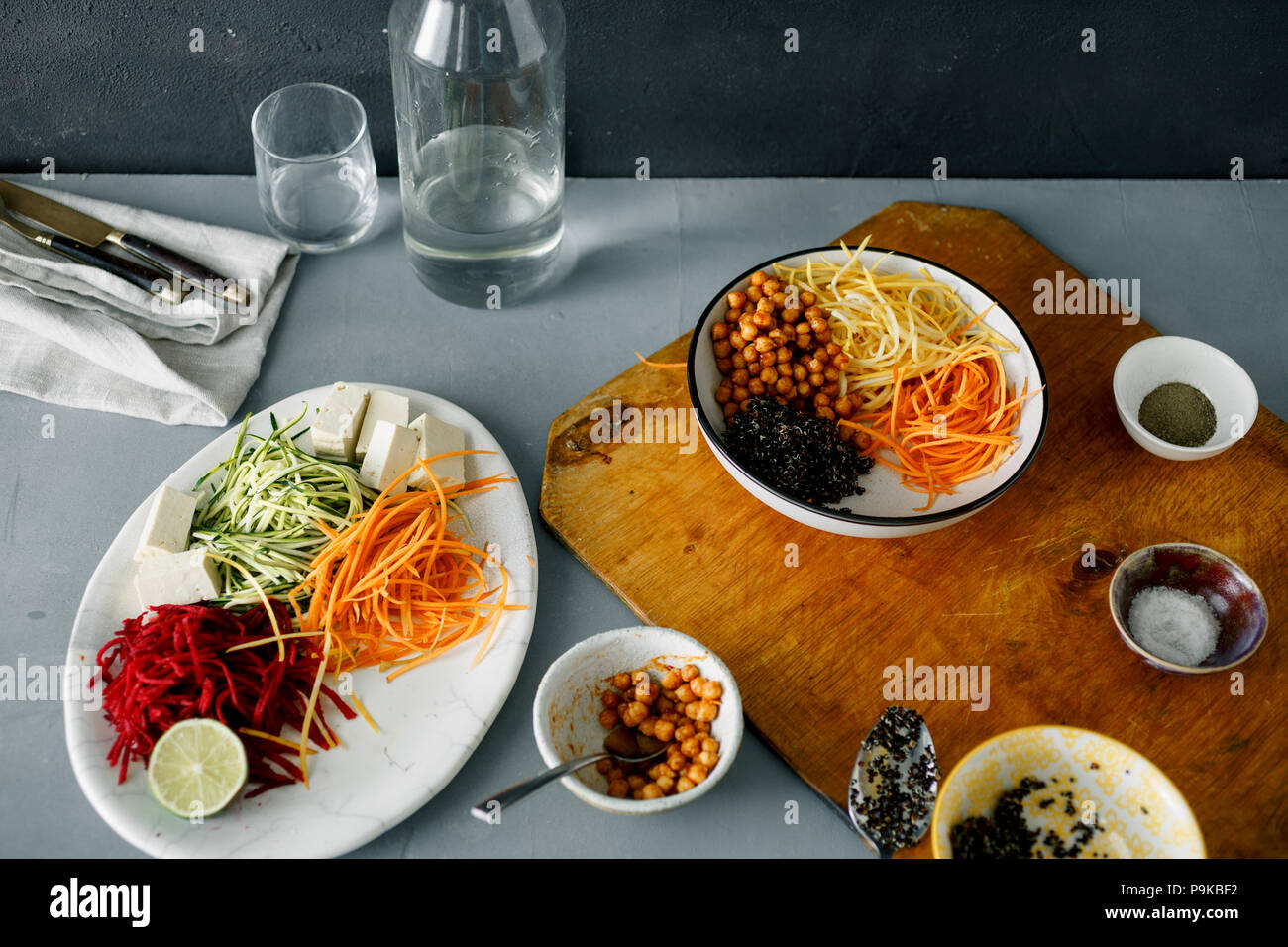 Cooking bowl buddha of spiralized vegetables on gray concrete table. Healthy food clean eating Stock Photo