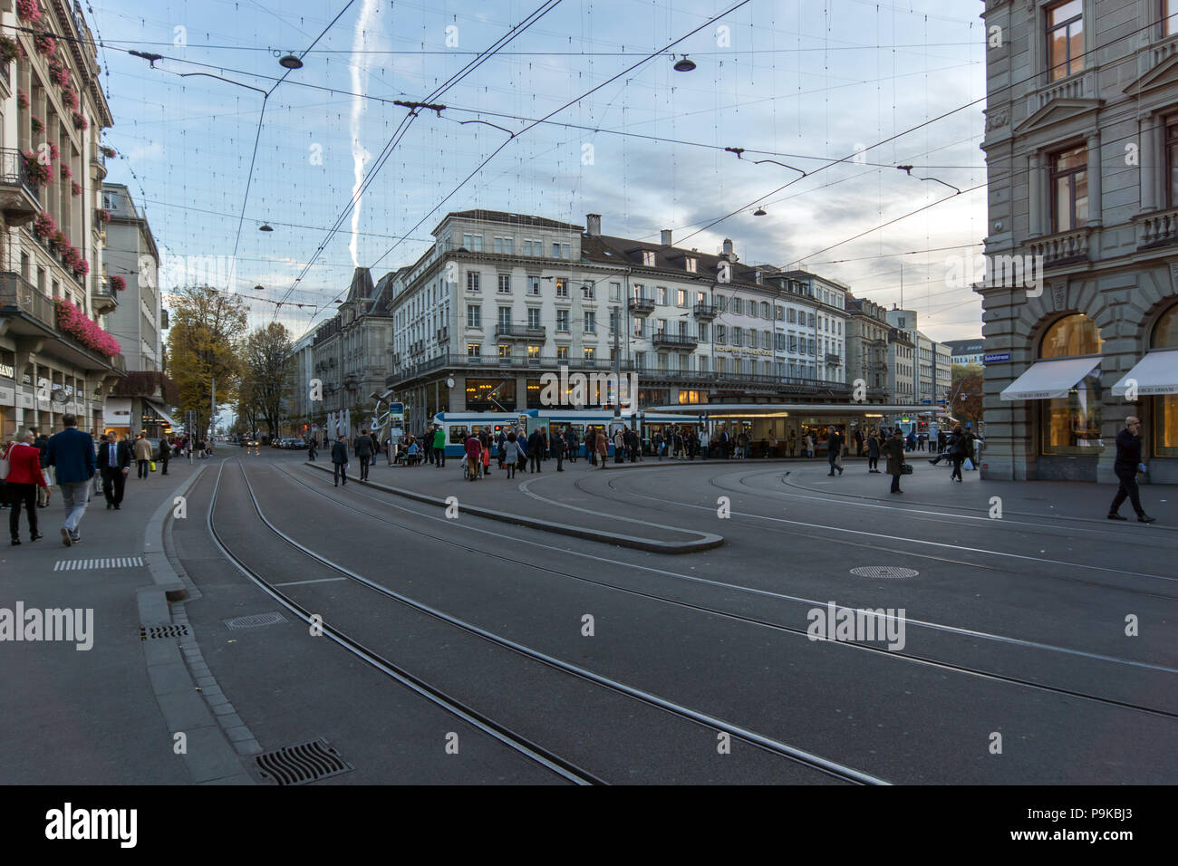 ZURICH, SWITZERLAND - OCTOBER 28, 2015: Bahnhofstrasse street in City of Zurich, Switzerland - Stock Image