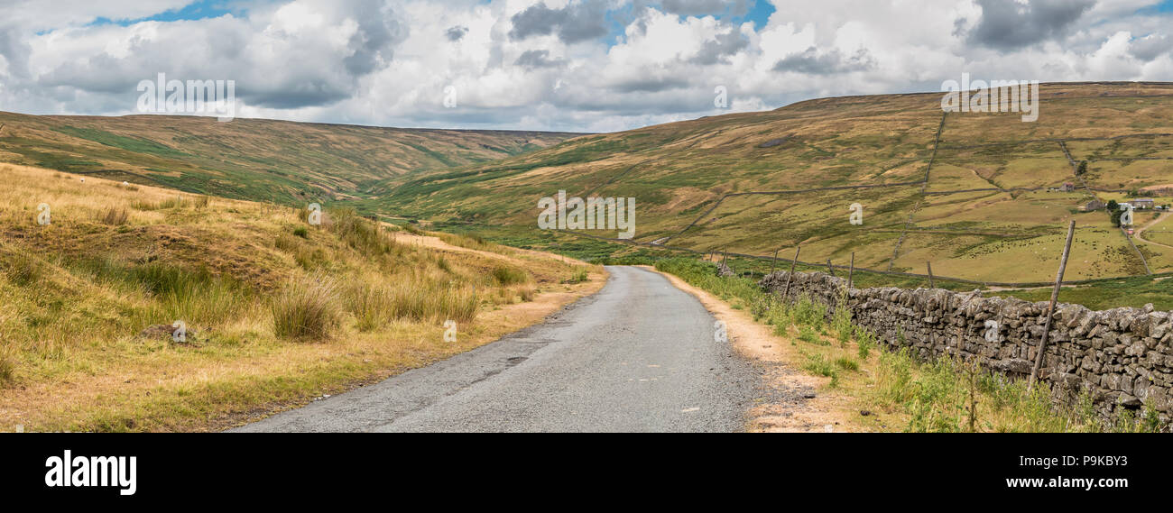 North Pennines AONB panoramic landscape, the Hudes Hope Valley, Teesdale, UK - Stock Image