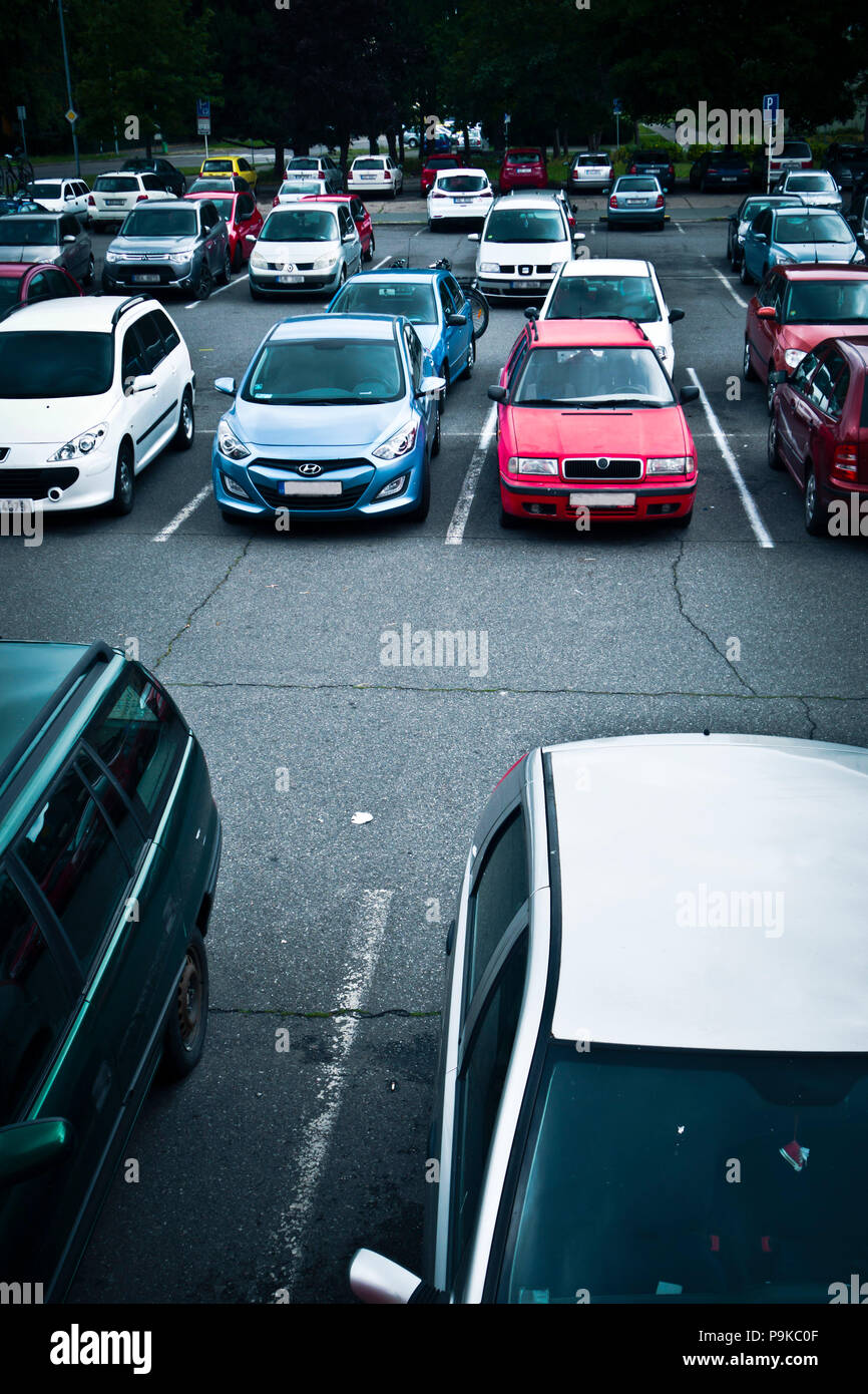 automobiles in a parking lot - Stock Image