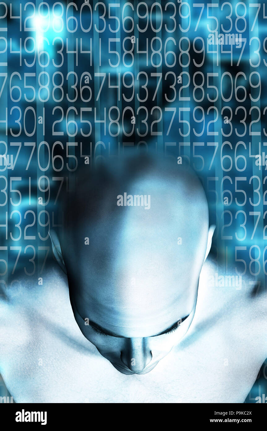 humanoid head from above and background of digits - Stock Image