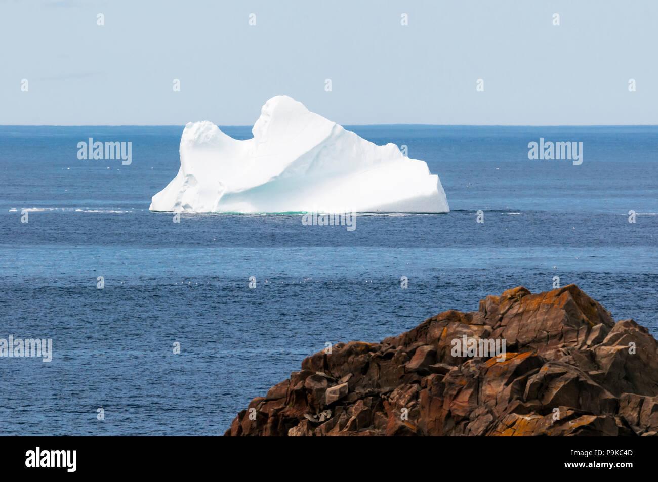 Iceberg drifting past the coast of Newfoundland at Cape Bonavista. - Stock Image