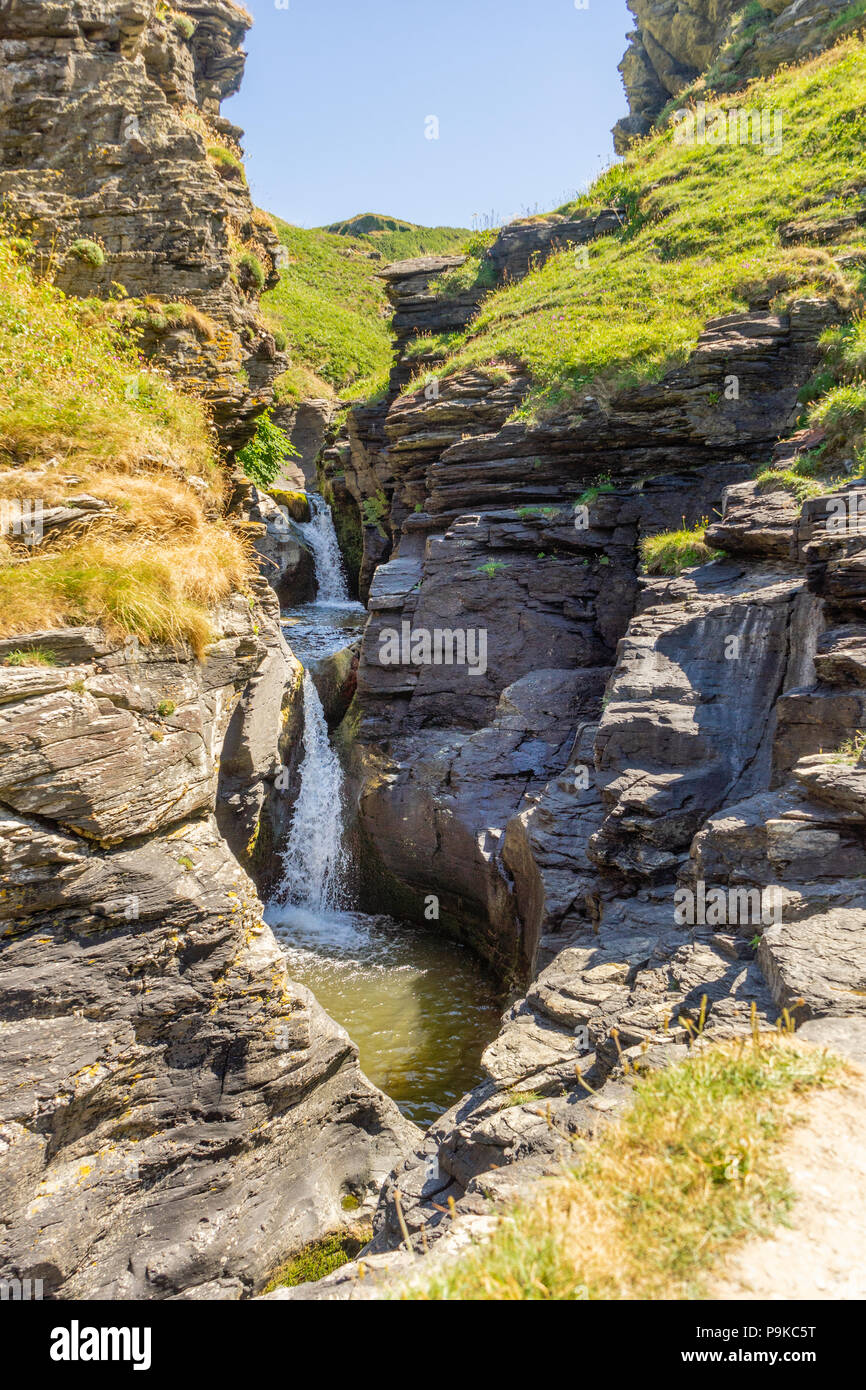 Scenic view over Rocky Valley and the Trevillet River waterfall during summer 2018, Rocky Valley, North Cornwall, Cornwall, England, UK - Stock Image
