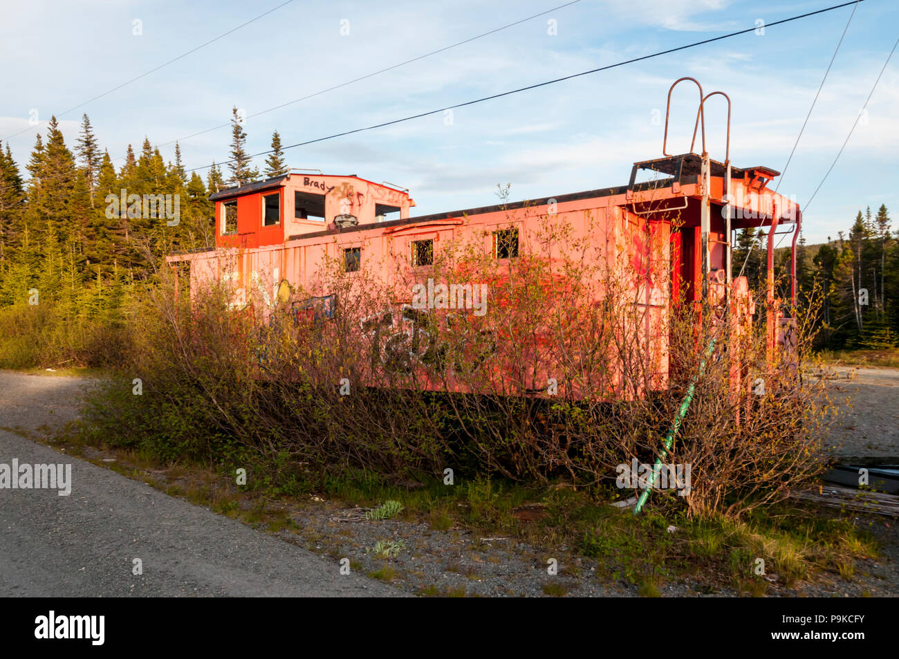 Abandoned locomotive at remains of Trinity Loop amusement park in Newfoundland. DETAILS IN DESCRIPTION. - Stock Image