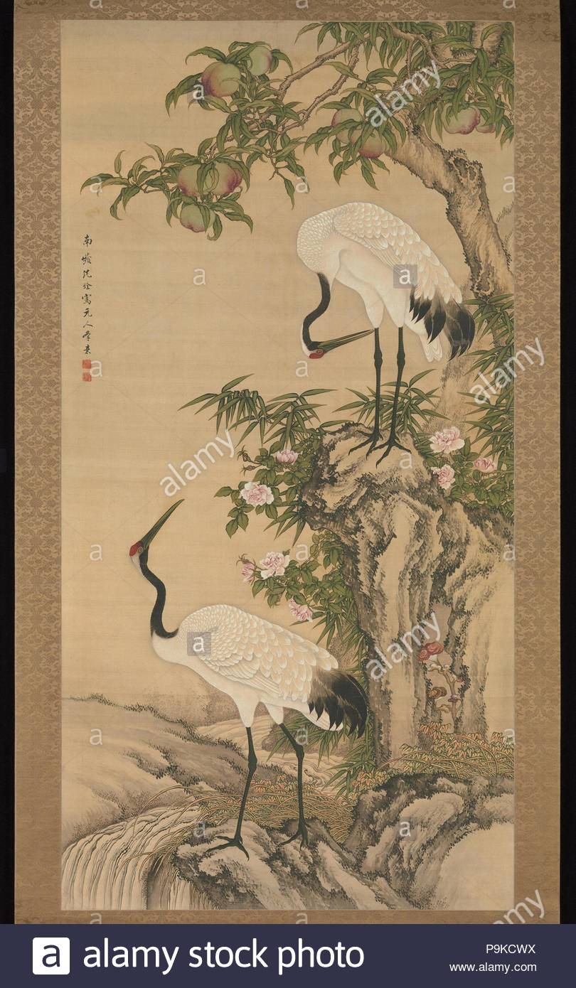 Cranes Peach Tree And Chinese Roses Qing Dynasty 16441911