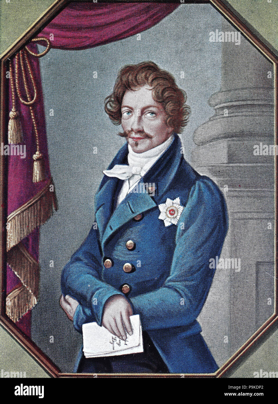 Ludwig I, also rendered in English as Louis I, 25 August 1786 – 29 February 1868, was king of Bavaria from 1825 until the 1848 revolutions in the German states. , digital improved reproduction of an original print from the year 1900 - Stock Image