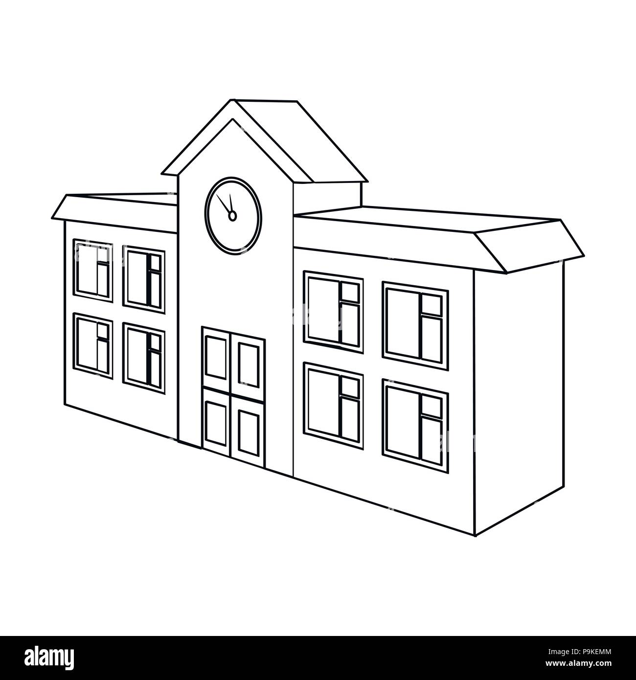 Architectural building of school, college  College single icon in