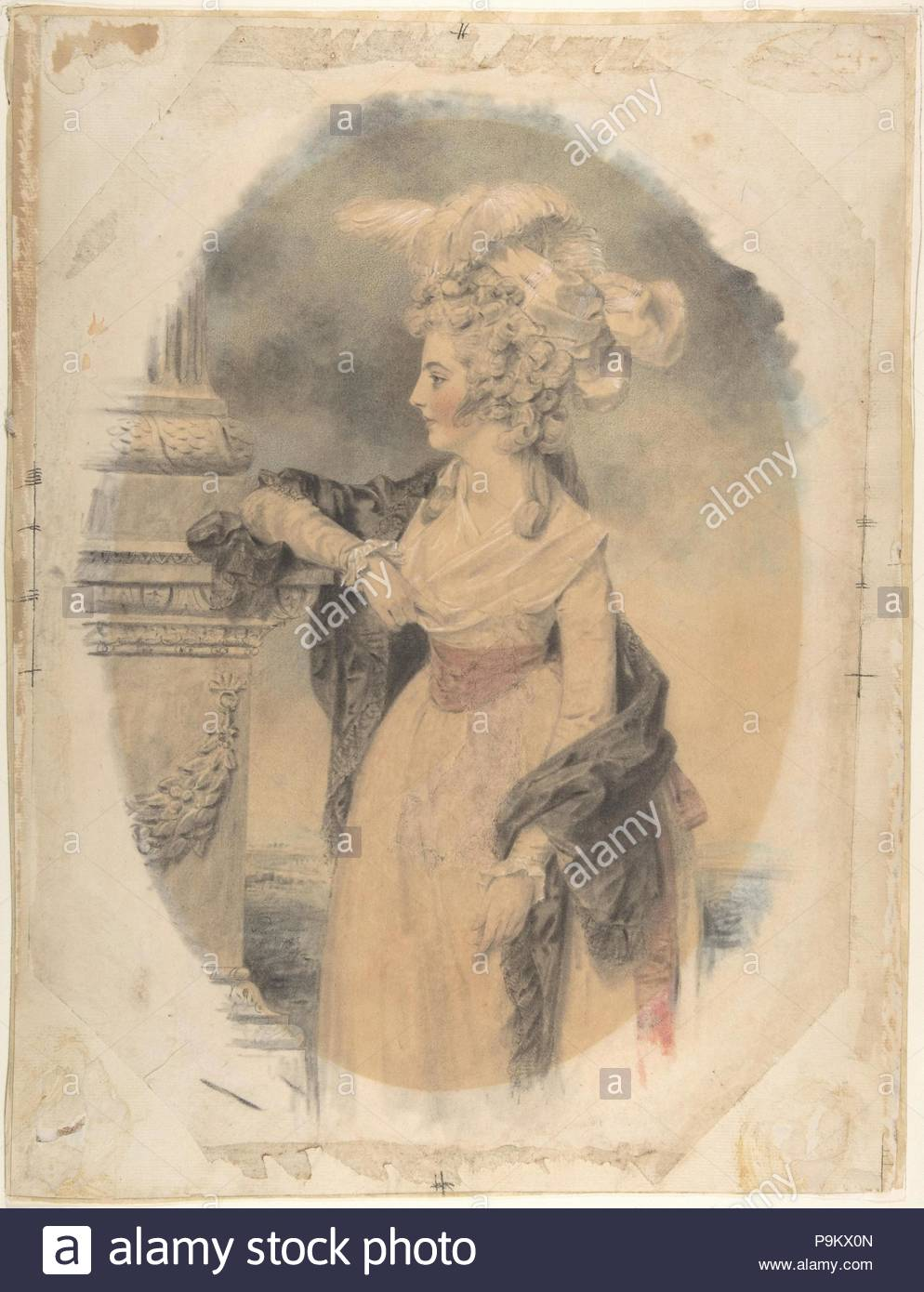 Elizabeth Ford, later Lady Colville of Culross, 1785, Watercolor, colored chalk, and graphite, sheet: 17 x 13 in. (43.2 x 33 cm), Drawings, John Downman (British, Ruabon, Wales 1750–1824 Wrexham, Wales), Dowman represents Elizabeth, second daughter of Francis Ford of Lears, Barbados in her early twenties. Wearing a feathered headress and dark cloak she leans on the base of a classical column, with her face shown in profile. - Stock Image