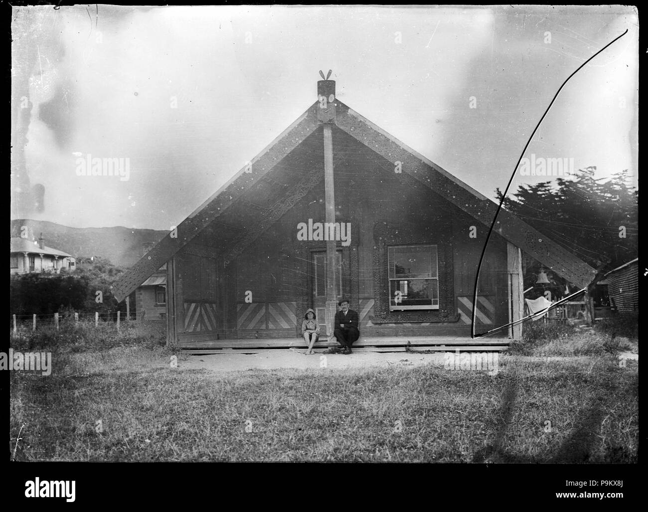 315 Toa Rangatira meeting house at Takapuwahia, Porirua, 1924. ATLIB 293861 - Stock Image