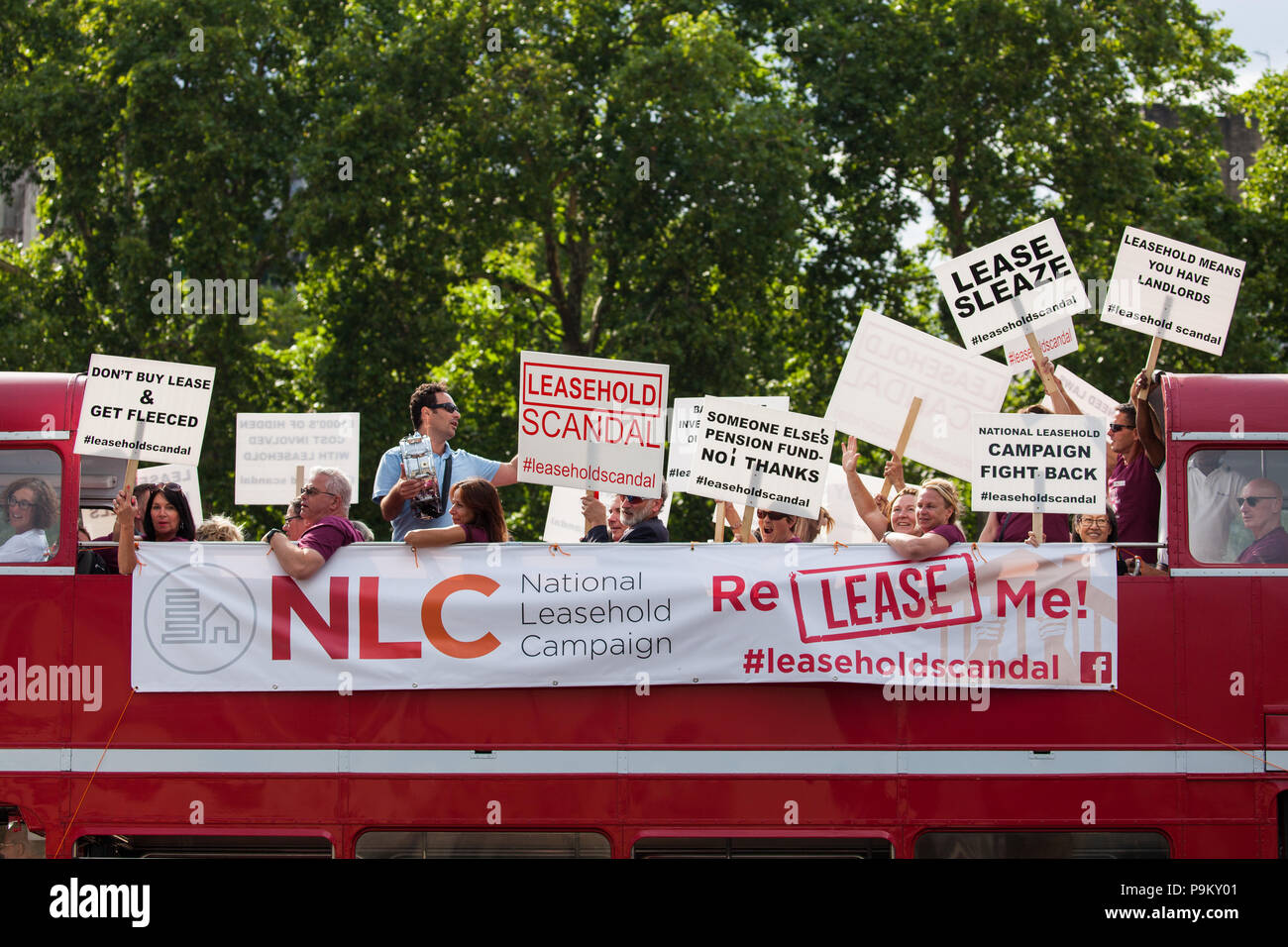 London, UK. 18th July, 2018. Activists from the National Leasehold Campaign protest in Westminster against the leasehold system of property rights, calling for leasehold to be abolished, for strict regulation of residential managing agents and for a Select Committee inquiry. Credit: Mark Kerrison/Alamy Live News - Stock Image