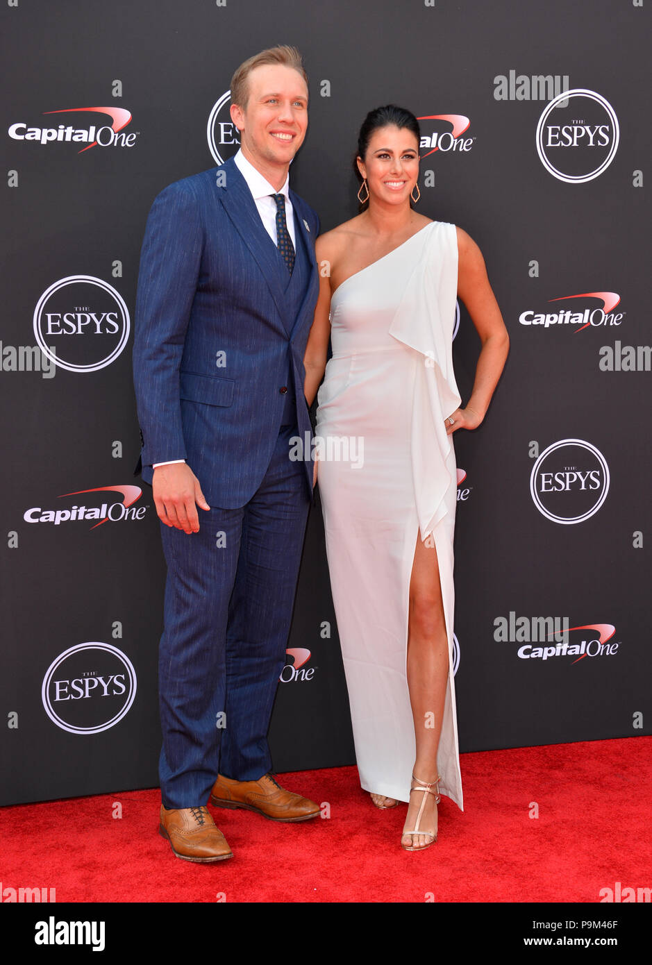 los angeles  california  usa  18th july  2018  nick foles  u0026 tori moore at the 2018 espy awards