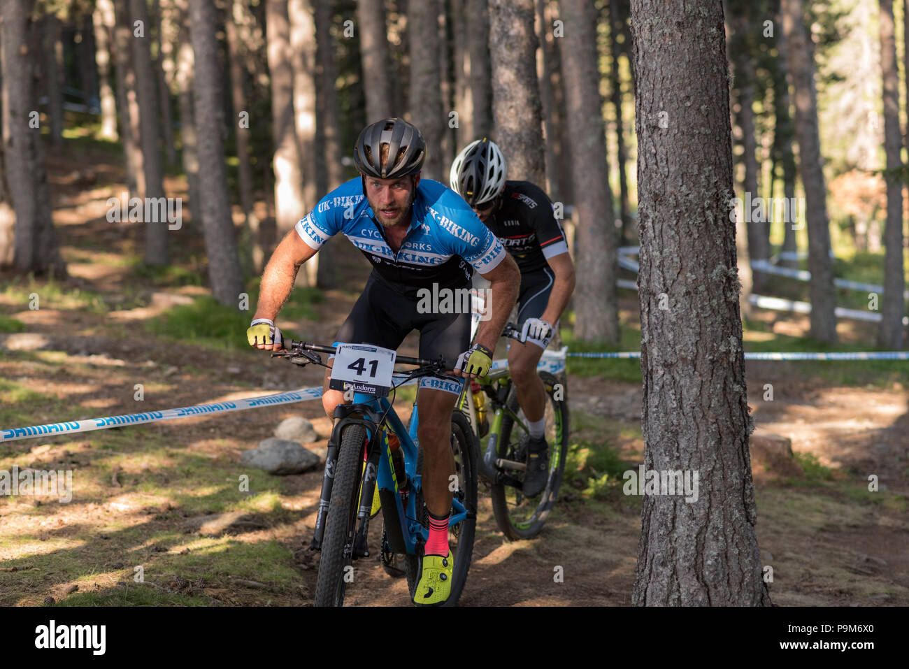 Vallnord, Andorra. 18th July, 2018. REVELL Tony GBR in the MERCEDES-BENZ UCI MTB WORLD CUP MASTERS 2018 - XCO - XCC - DHI Vallnord, Andorra on July 18, 2018 in Vallnord, Andorra Credit: Martin Silva Cosentino / Alamy Live News - Stock Image