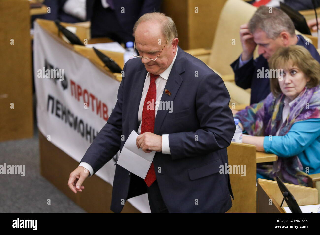 Moscow, Russia. 19th July, 2018. MOSCOW, RUSSIA - JULY 19, 2018: Russian Communist Party Leader Gennady Zyuganov at a plenary session of the Russian State Duma holding the first reading of a draft law to raise the retirement age from 60 to 65 for men, and from 55 to 63 for women over a 15-year period. Anton Novoderezhkin/TASS Credit: ITAR-TASS News Agency/Alamy Live News - Stock Image