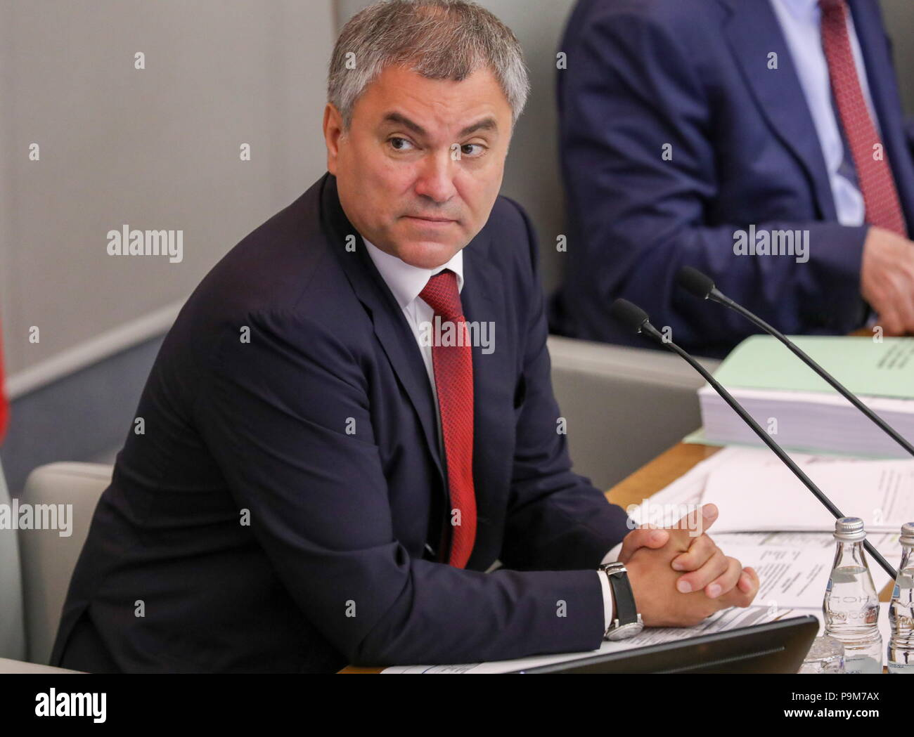 Moscow, Russia. 19th July, 2018. MOSCOW, RUSSIA - JULY 19, 2018: State Duma Chairman Vyacheslav Volodin at a plenary session of the Russian State Duma holding the first reading of a draft law to raise the retirement age from 60 to 65 for men, and from 55 to 63 for women over a 15-year period. Anton Novoderezhkin/TASS Credit: ITAR-TASS News Agency/Alamy Live News - Stock Image