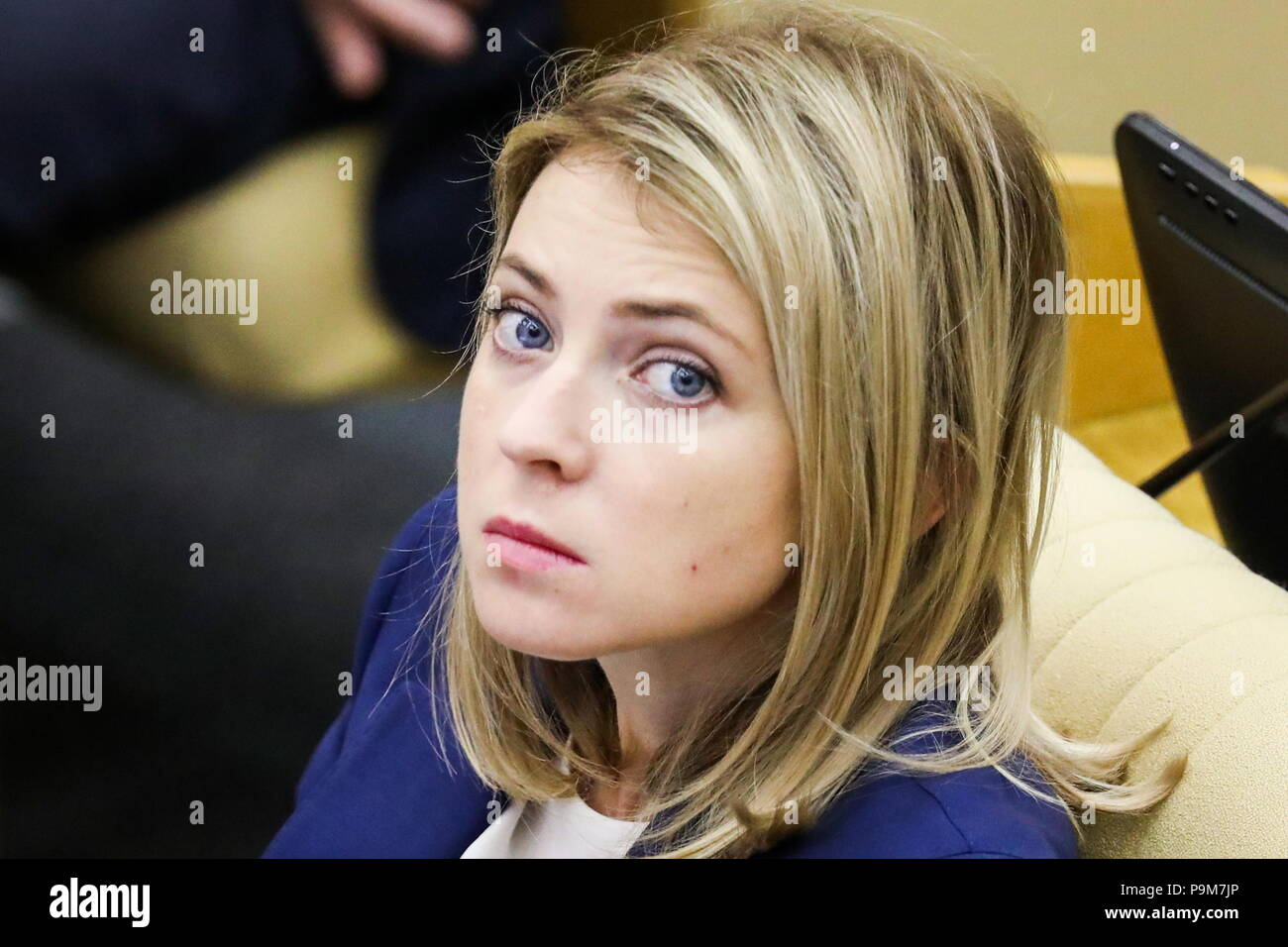 Moscow, Russia. 19th July, 2018. MOSCOW, RUSSIA - JULY 19, 2018: State Duma member Natalia Poklonskaya a plenary session of the Russian State Duma holding the first reading of a draft law to raise the retirement age for men from 60 to 65 and for women from 55 to 63. Anton Novoderezhkin/TASS Credit: ITAR-TASS News Agency/Alamy Live News - Stock Image