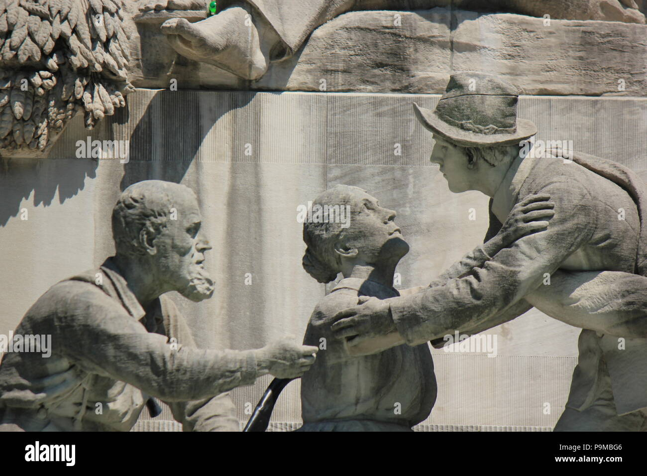 Scene from the Soldiers and Sailors Monument in Monument Circle in Indianapolis, Indiana. - Stock Image