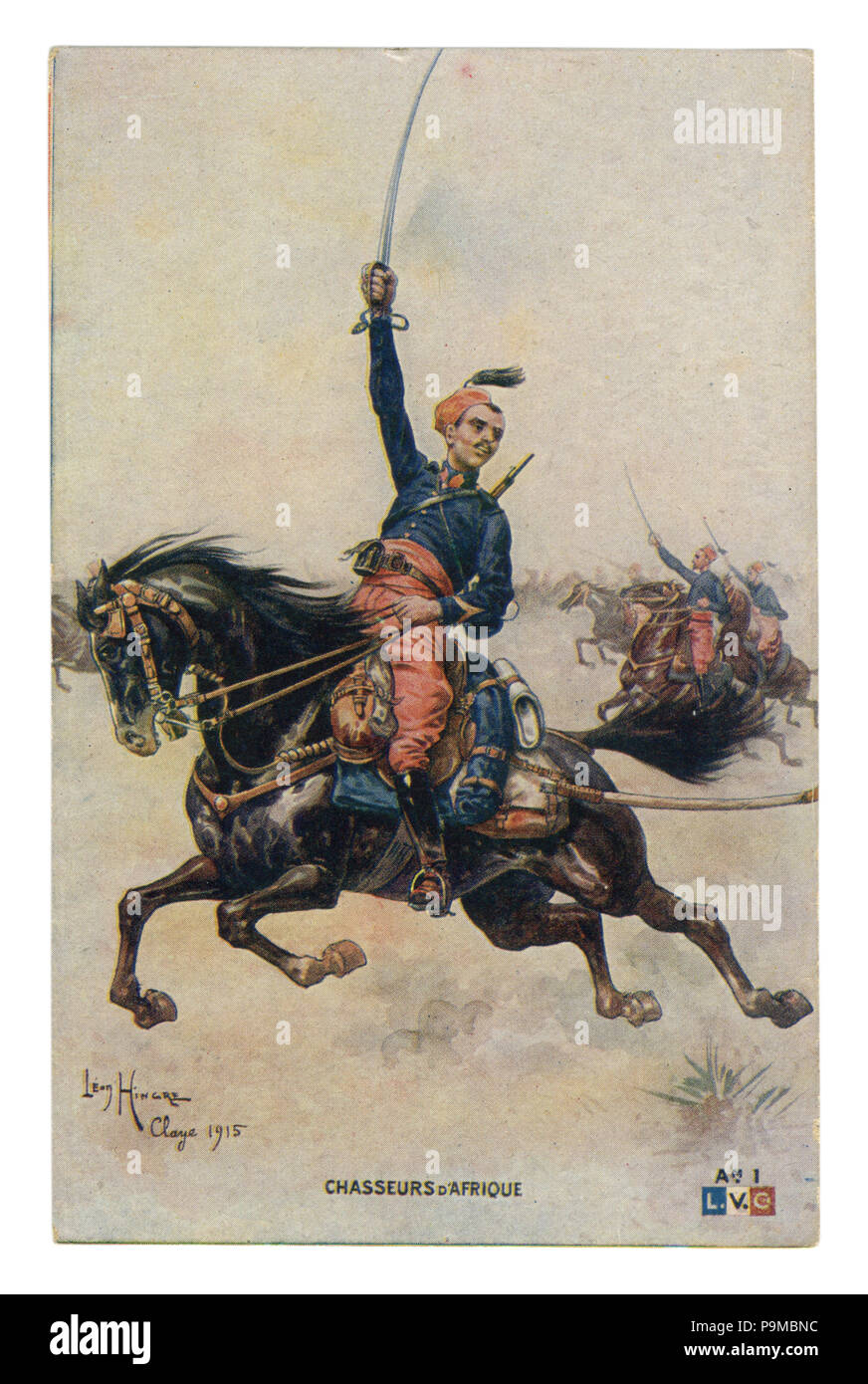 French historical postcard: African colonial cavalry troops  in full gear galloping to the attack with drawn swords. world war one 1914-1918. France - Stock Image