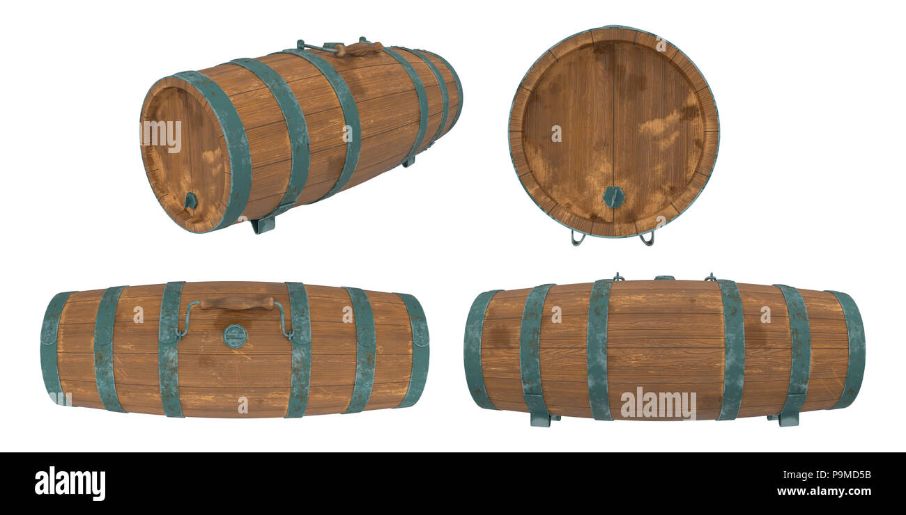 Old wooden barrel or cask for storing water or rum aboard ship, 19th century nautical style, isolated on white background. 3D render / illustration - Stock Image