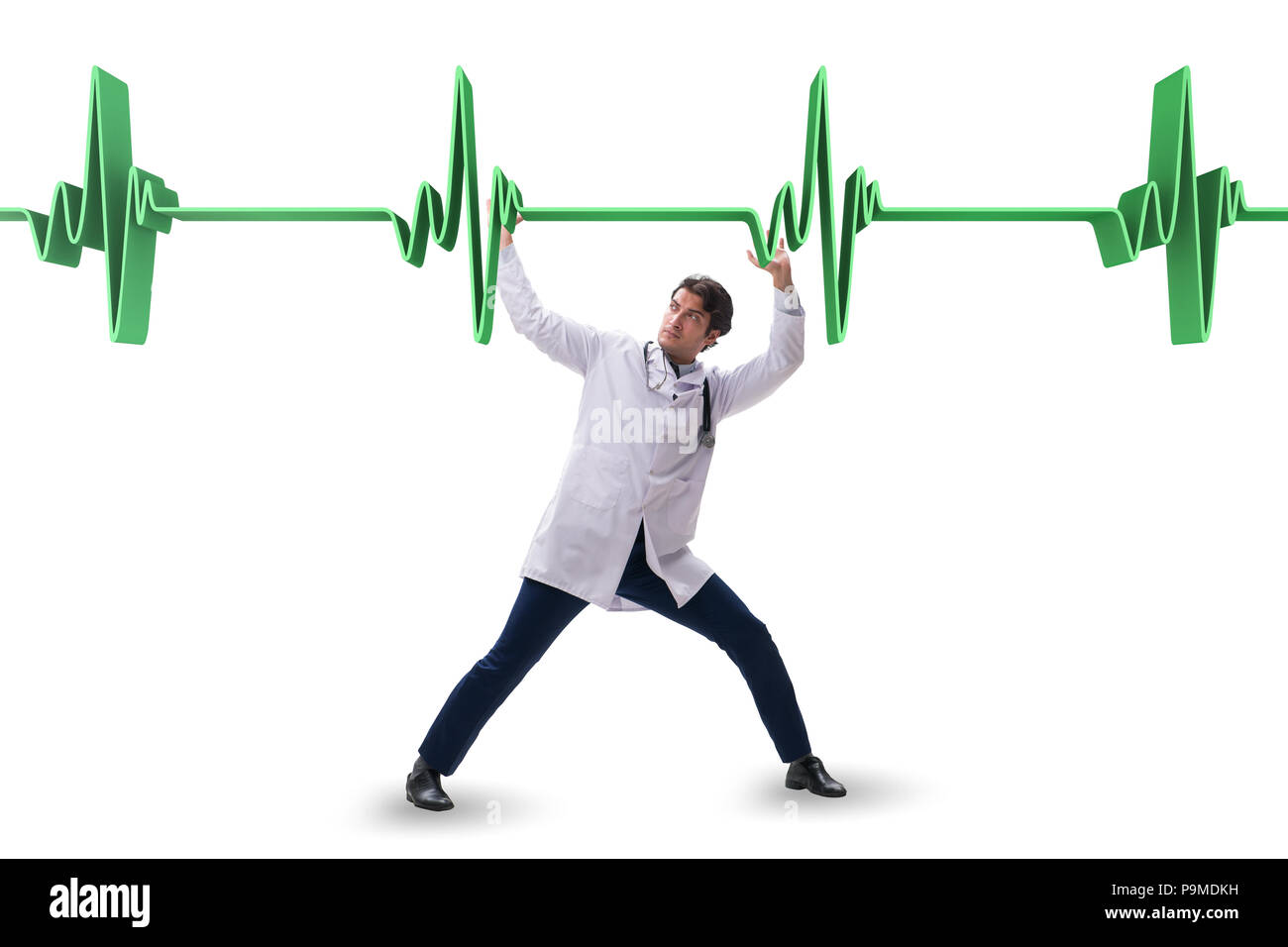 Doctor cardiologist supporting cardiogram heart line Stock