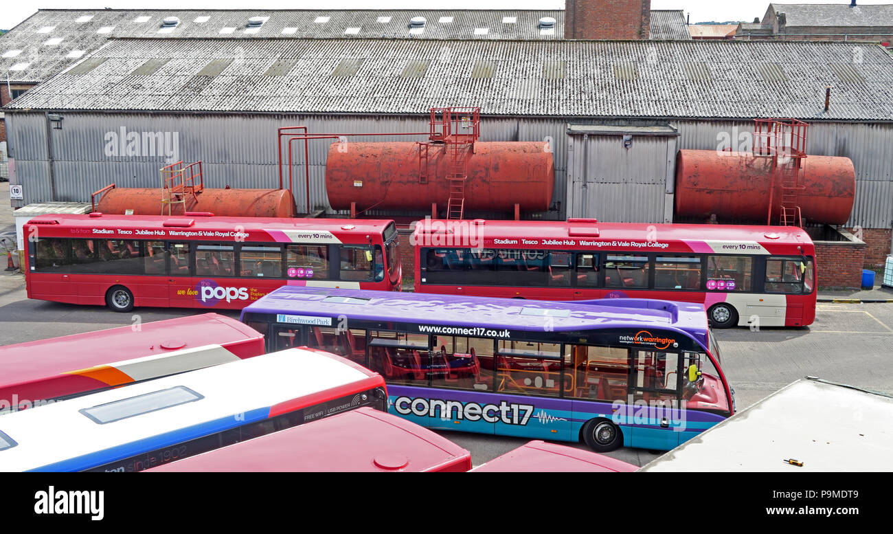 Warringtons Own Buses, main depot,  Wilderspool Causeway, Cheshire, North West England, UK - Stock Image