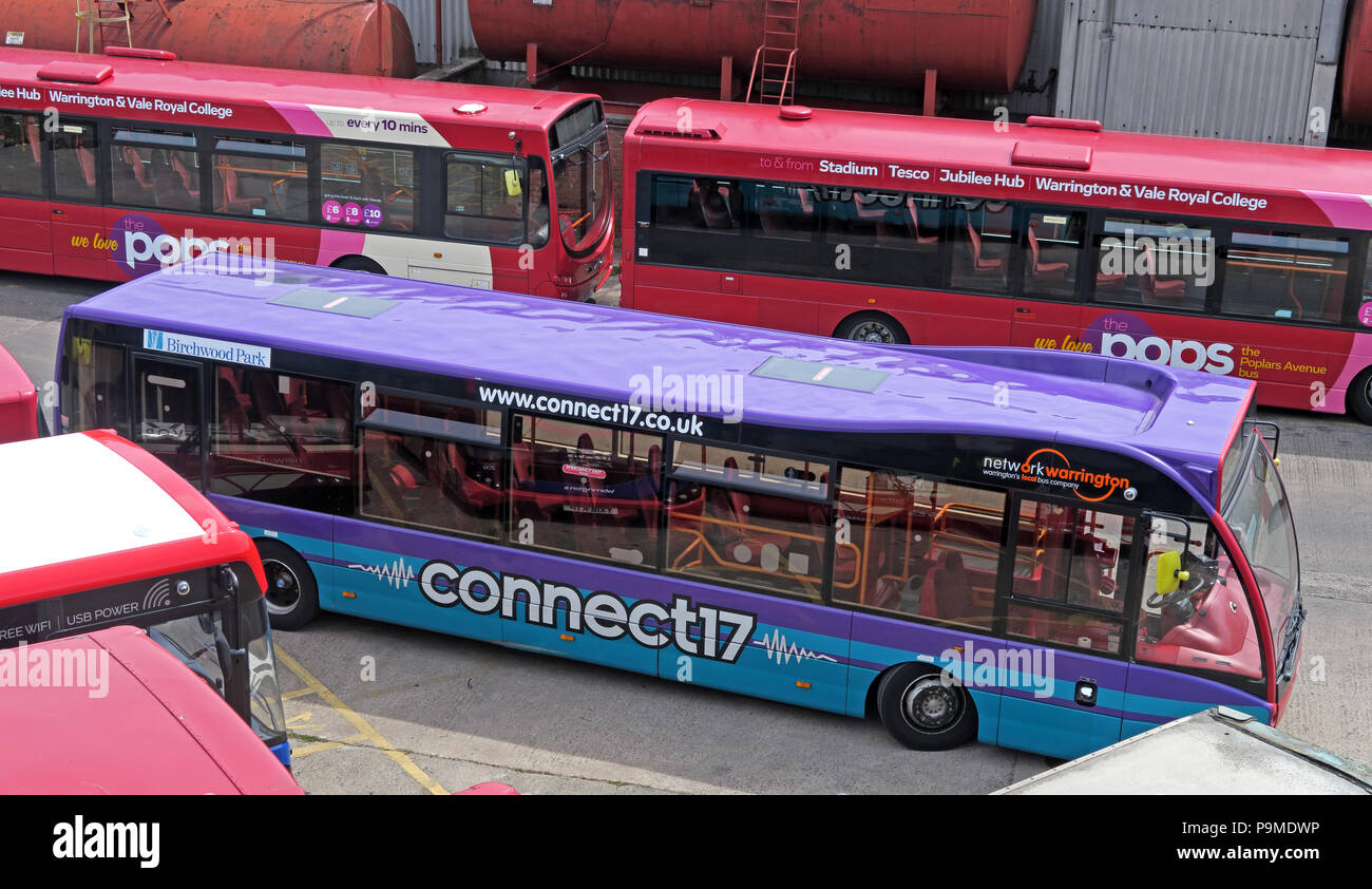 Warringtons Own Buses, main depot, Connect17 bus,  Wilderspool Causeway, Cheshire, North West England, UK - Stock Image