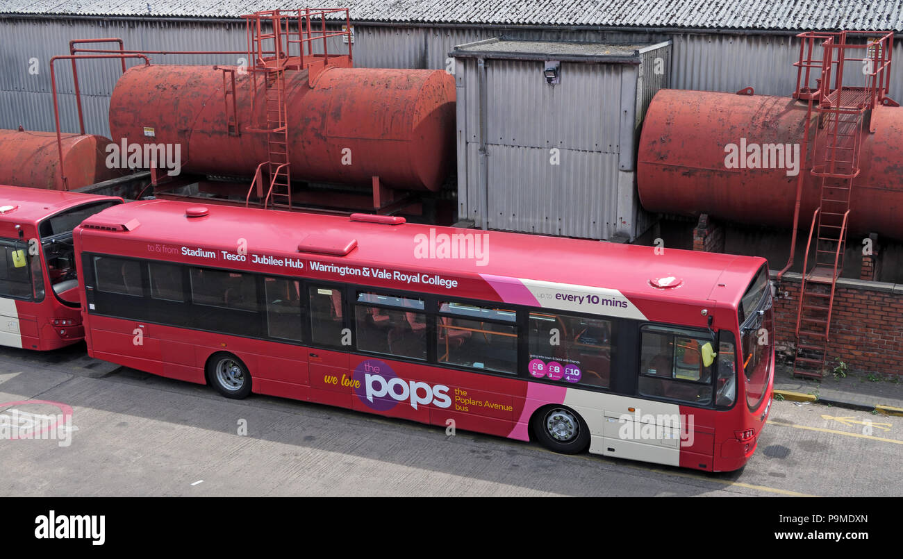 Warringtons Own Buses, Pops bus, main depot,  Wilderspool Causeway, Cheshire, North West England, UK - Stock Image