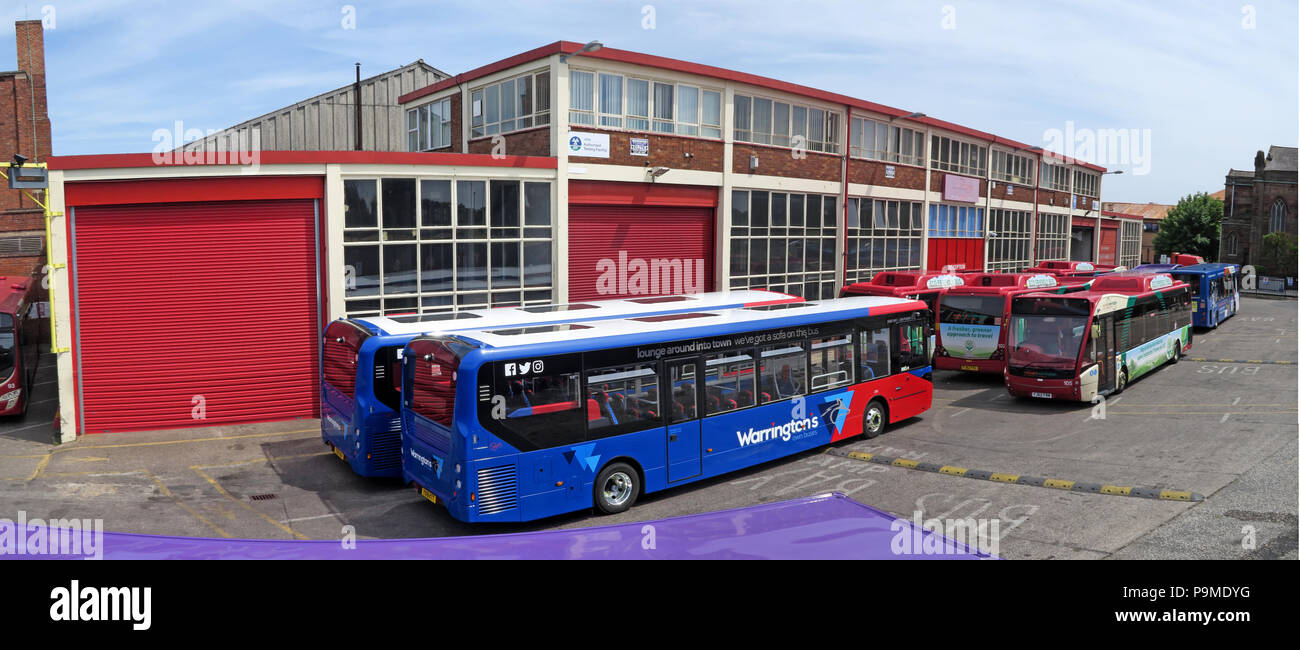 Warringtons Own Buses, main depot pano,  Wilderspool Causeway, Cheshire, North West England, UK - Stock Image