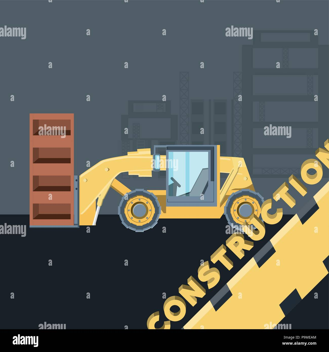 Construction Design With Grader Truck Icon Over Gray Background Colorful Vector Illustration