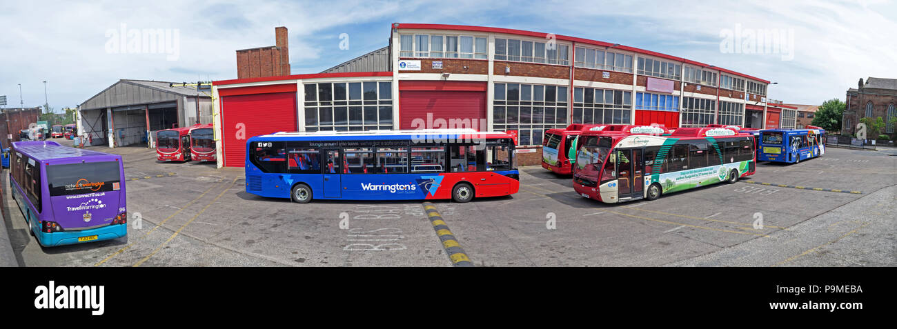 Warringtons Own Buses, main depot panorama,  Wilderspool Causeway, Cheshire, North West England, UK - Stock Image