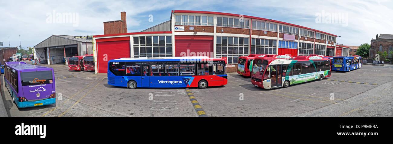 Warringtons Own Buses, main depot panorama,  Wilderspool Causeway, Cheshire, North West England, UK Stock Photo
